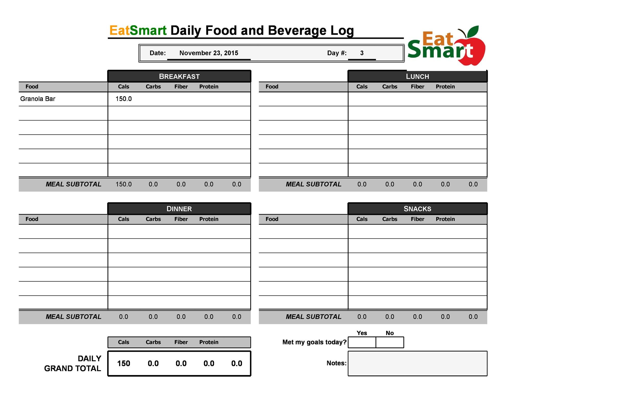 Free Food Diary Template 09