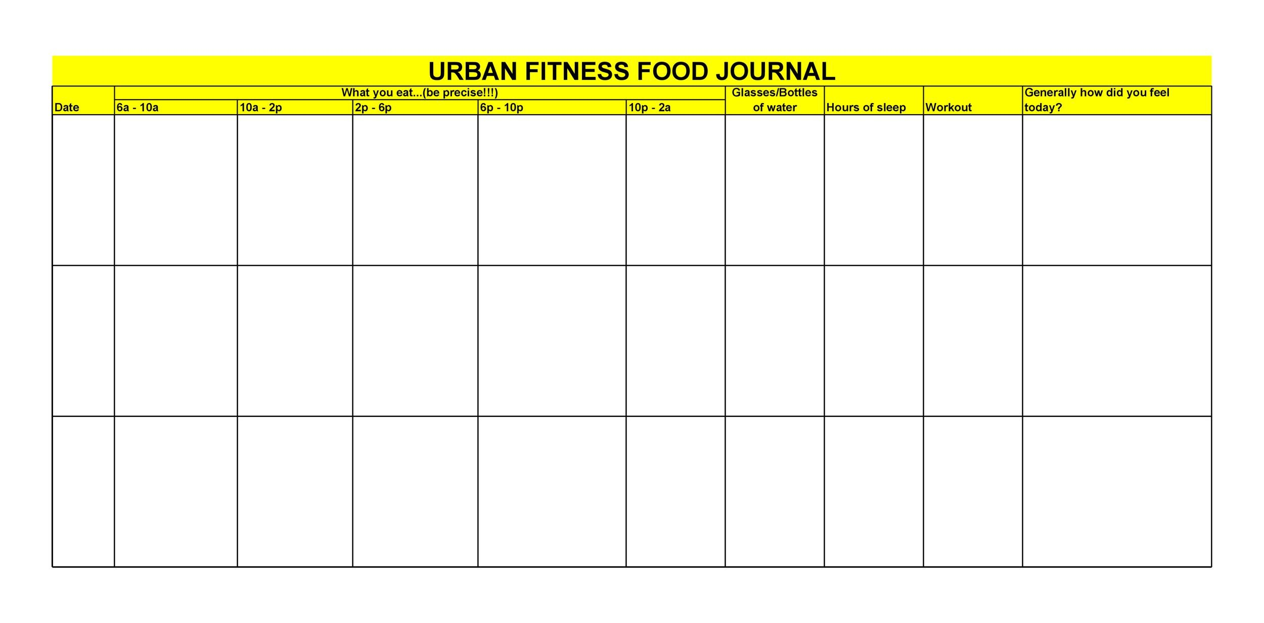 Free Food Diary Template 10