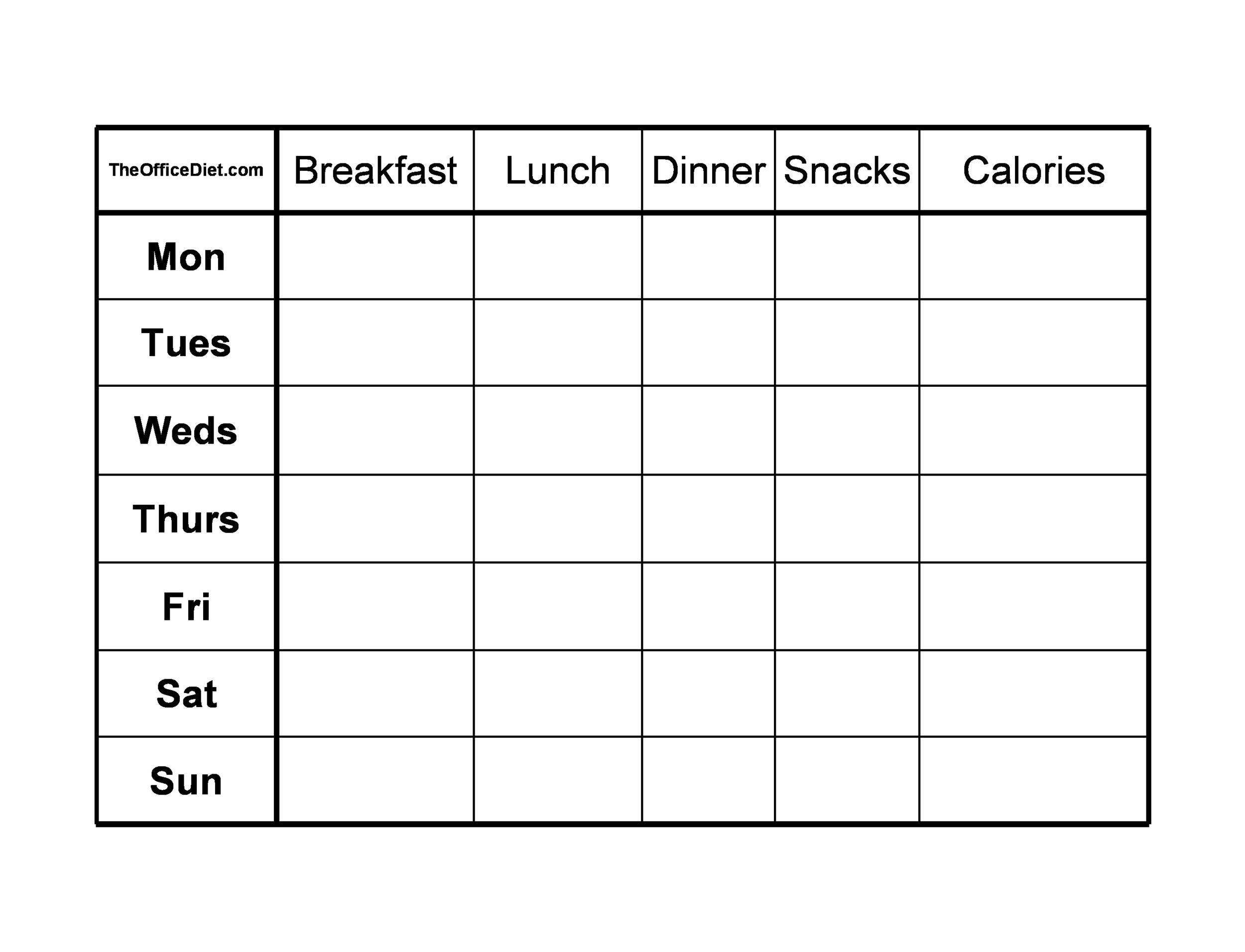 Free Food Diary Template 12