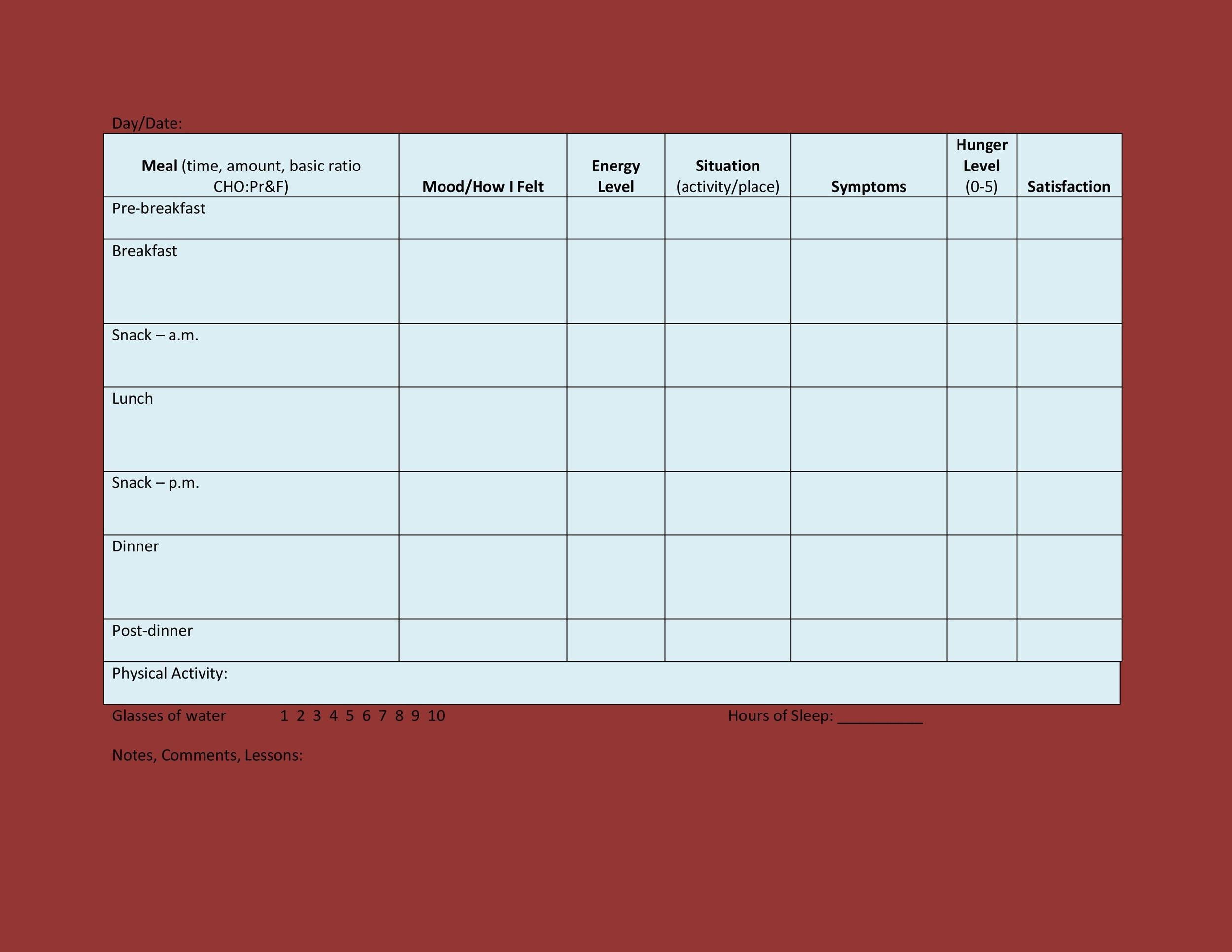 Free Food Diary Template 15