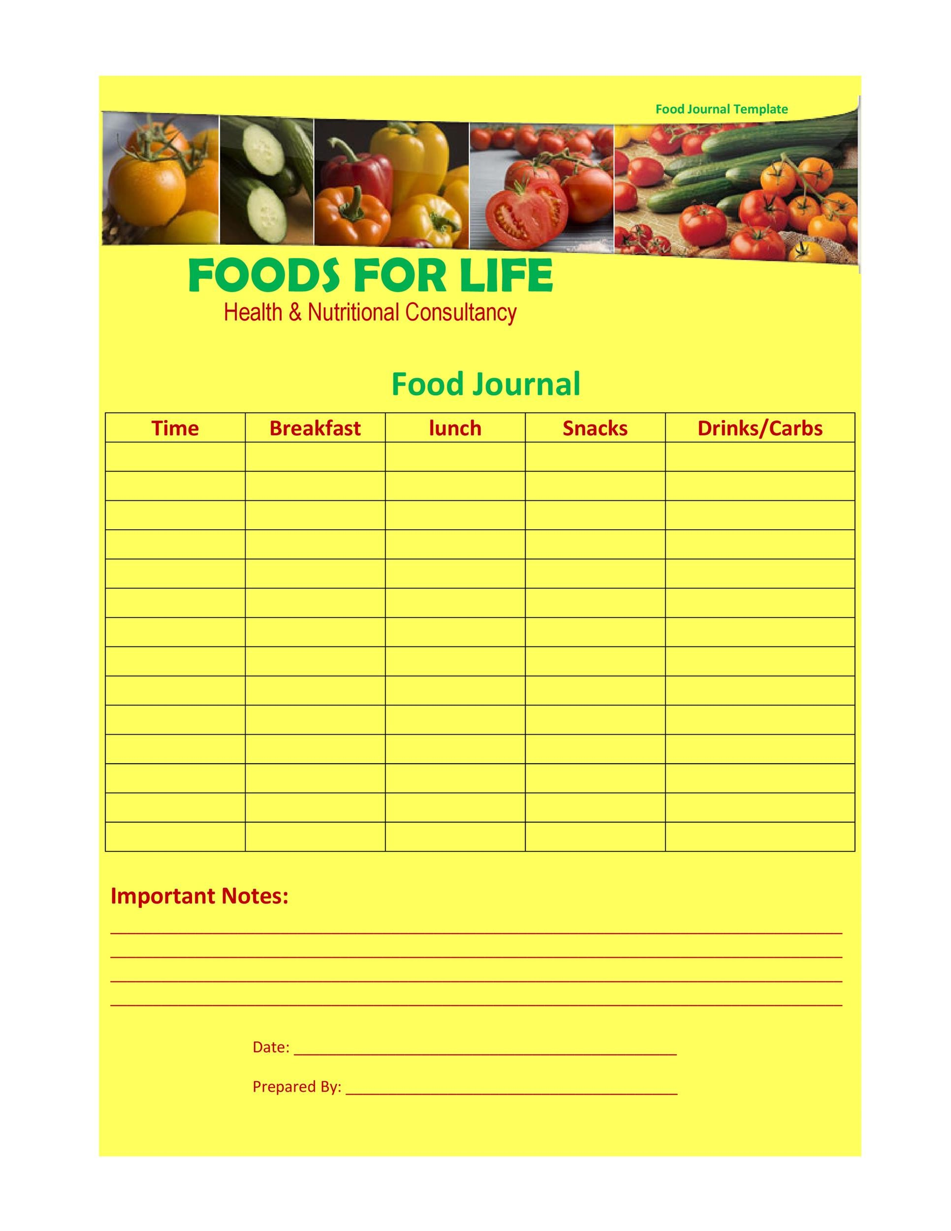 Free Food Diary Template 18