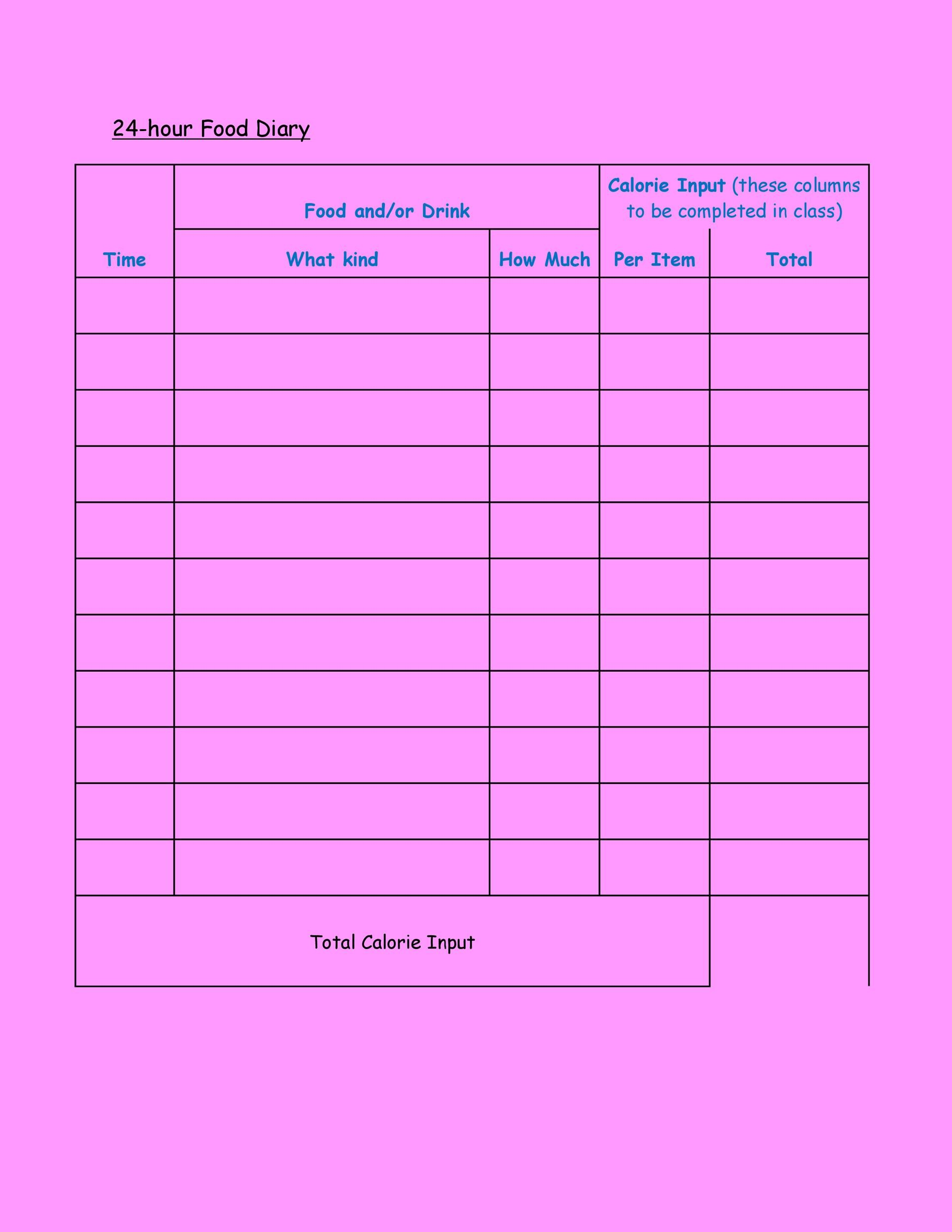 Free Food Diary Template 25