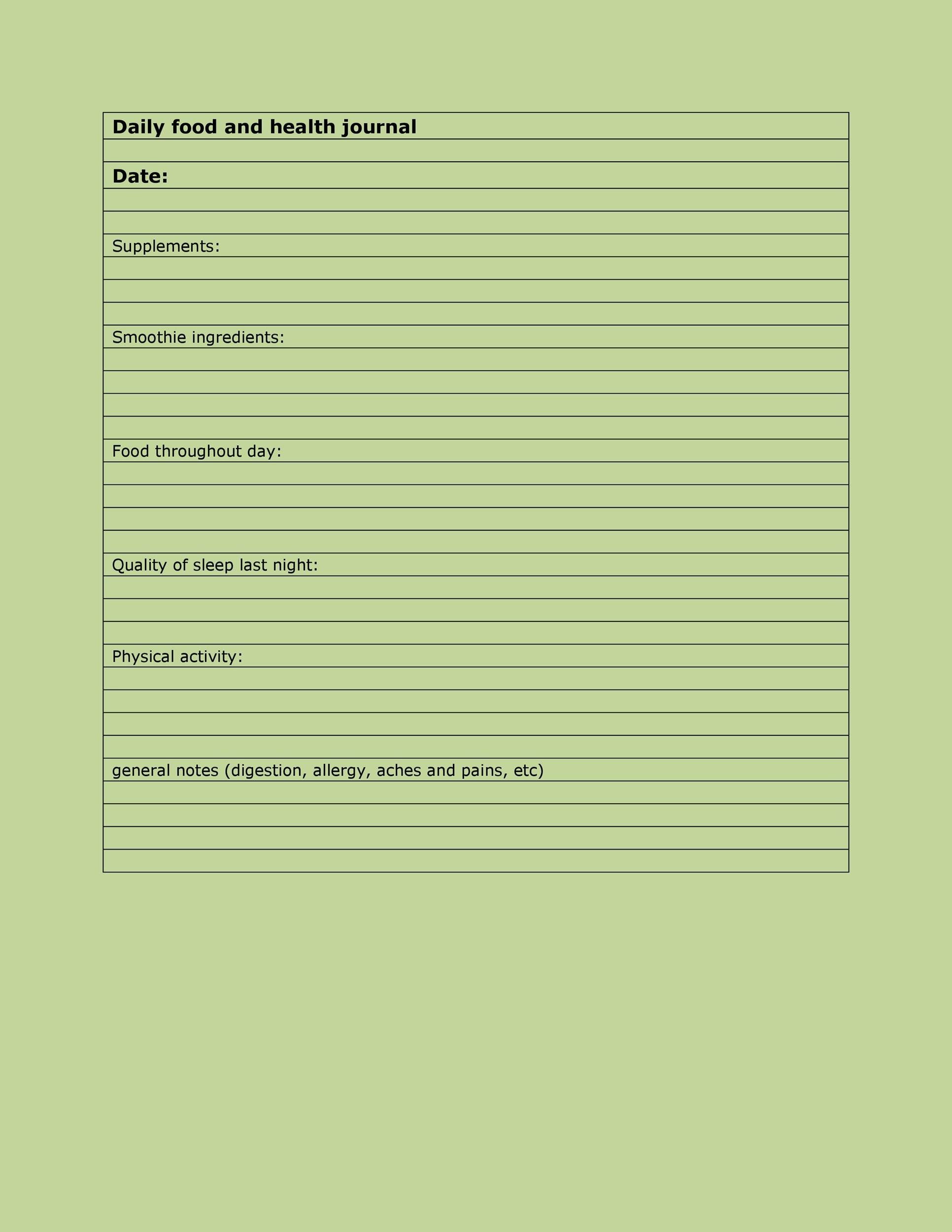 Free Food Diary Template 30