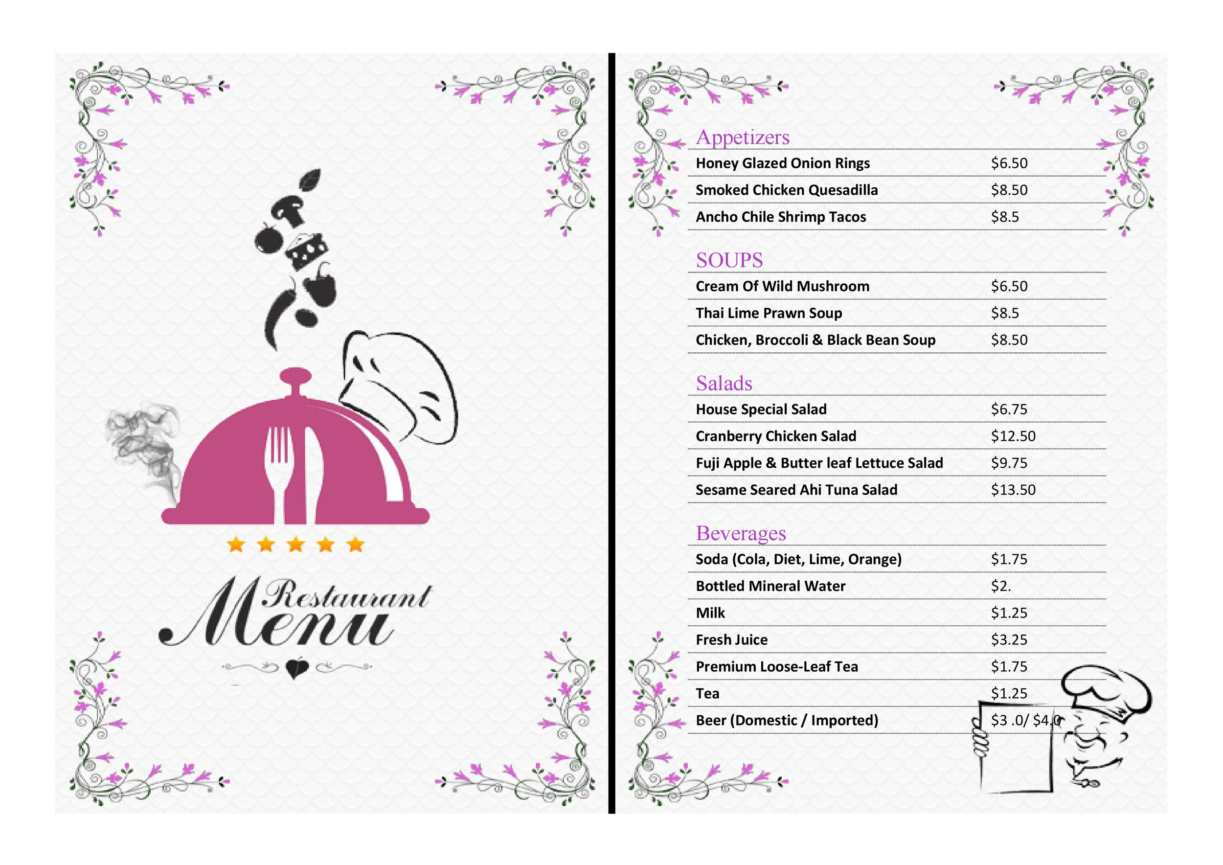free menu template 14 printable menu template 14
