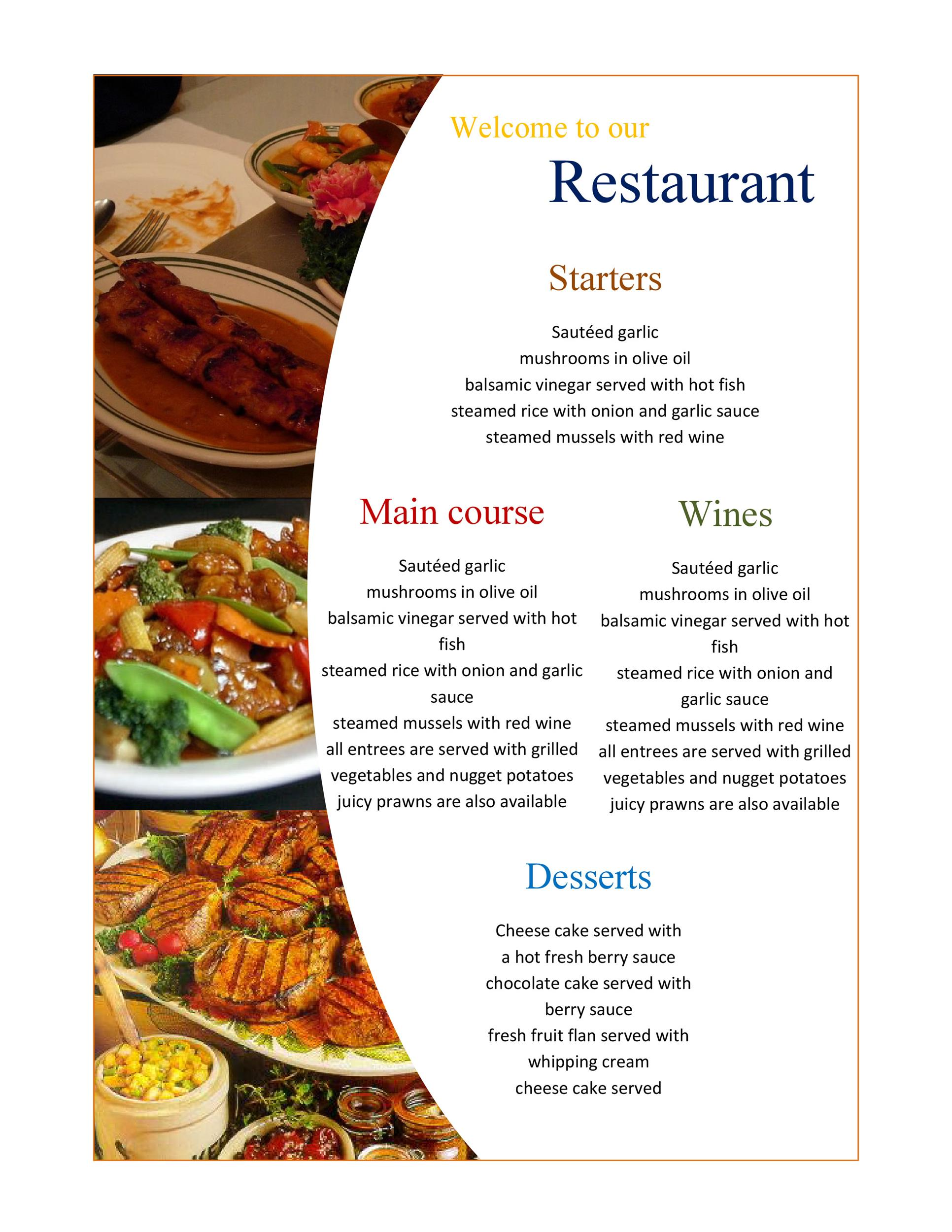 Good Printable Menu Template 19  Free Printable Restaurant Menu Template