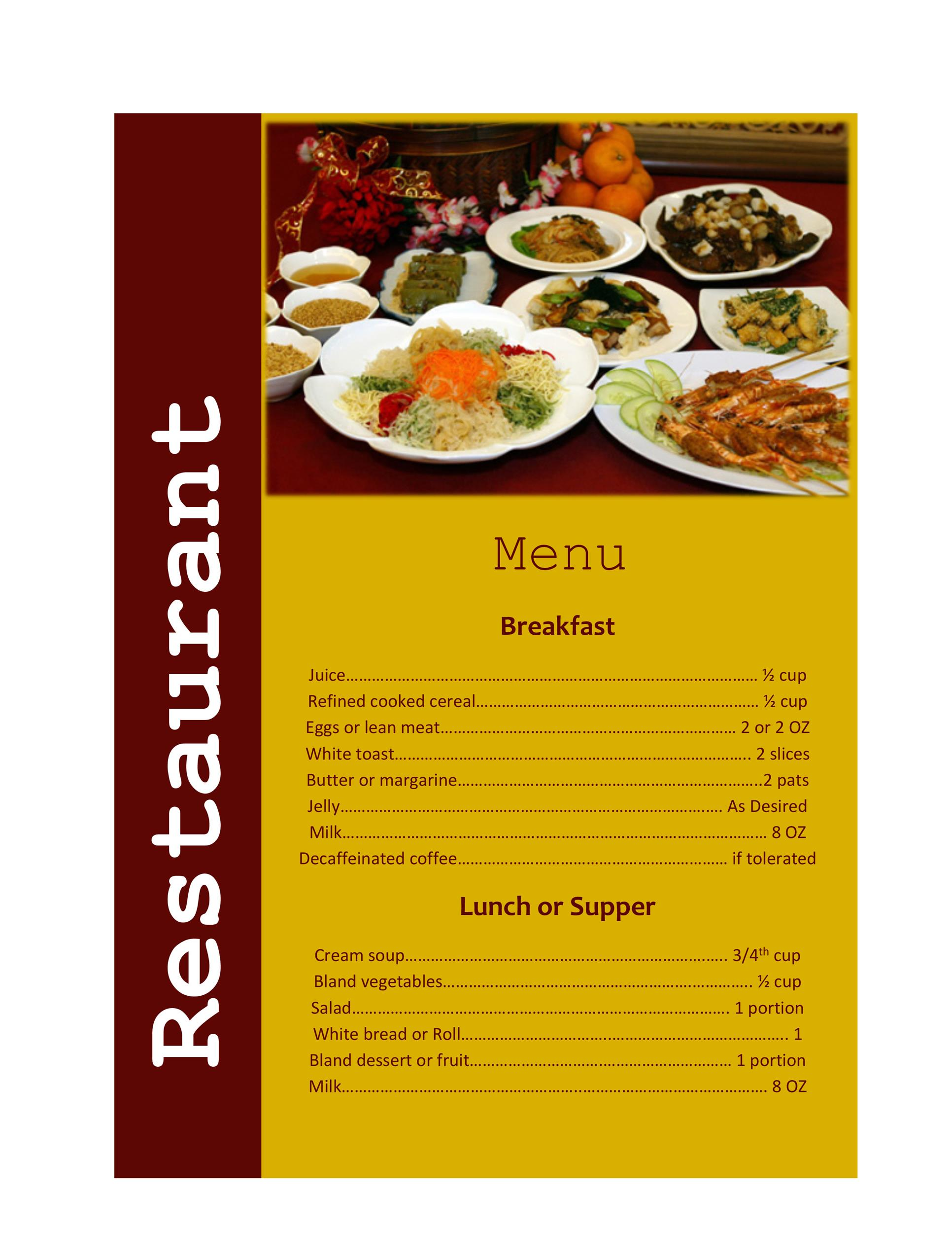 Restaurant Menu Templates Designs Template Lab - Delivery menu template