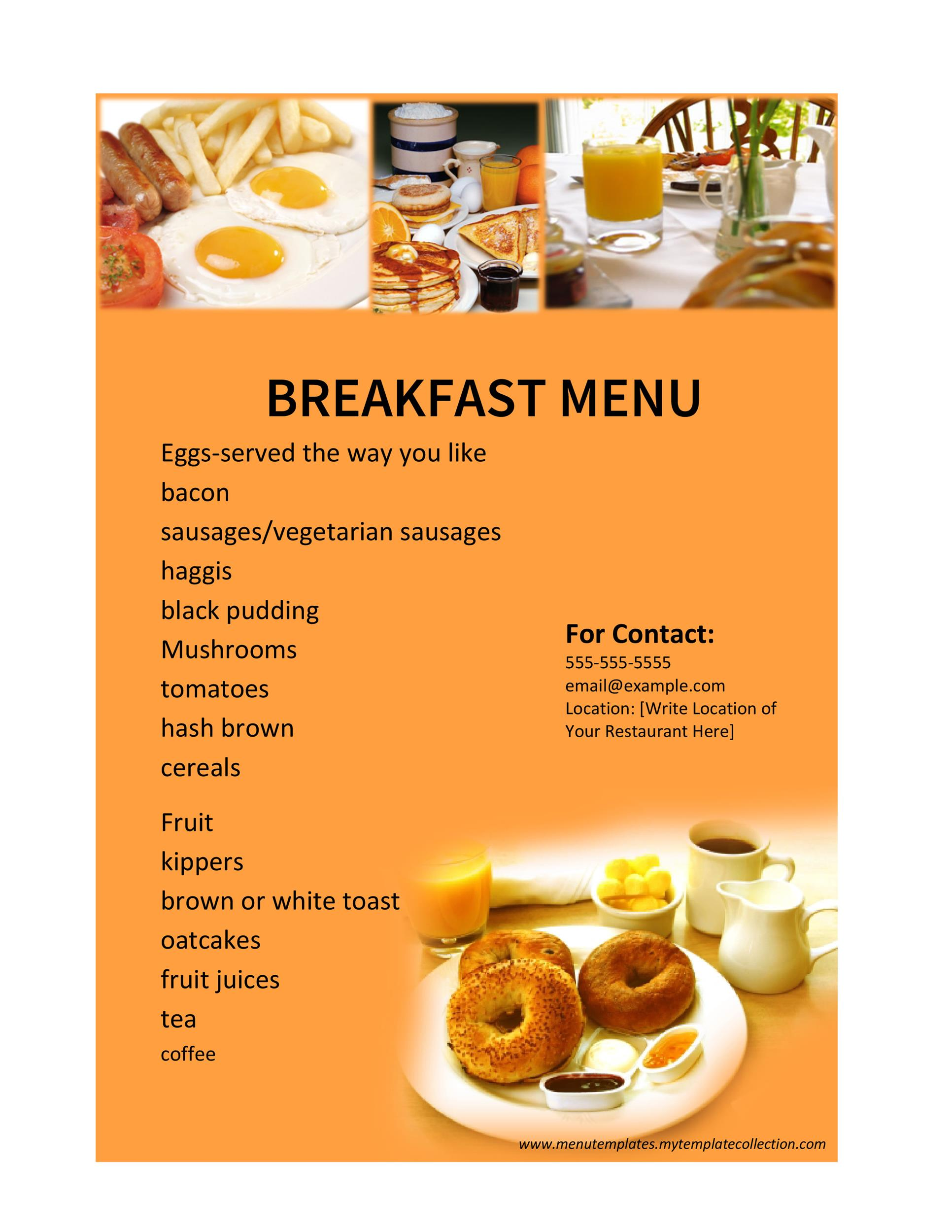 Breakfast Menu Template Word  Breakfast Menu Template