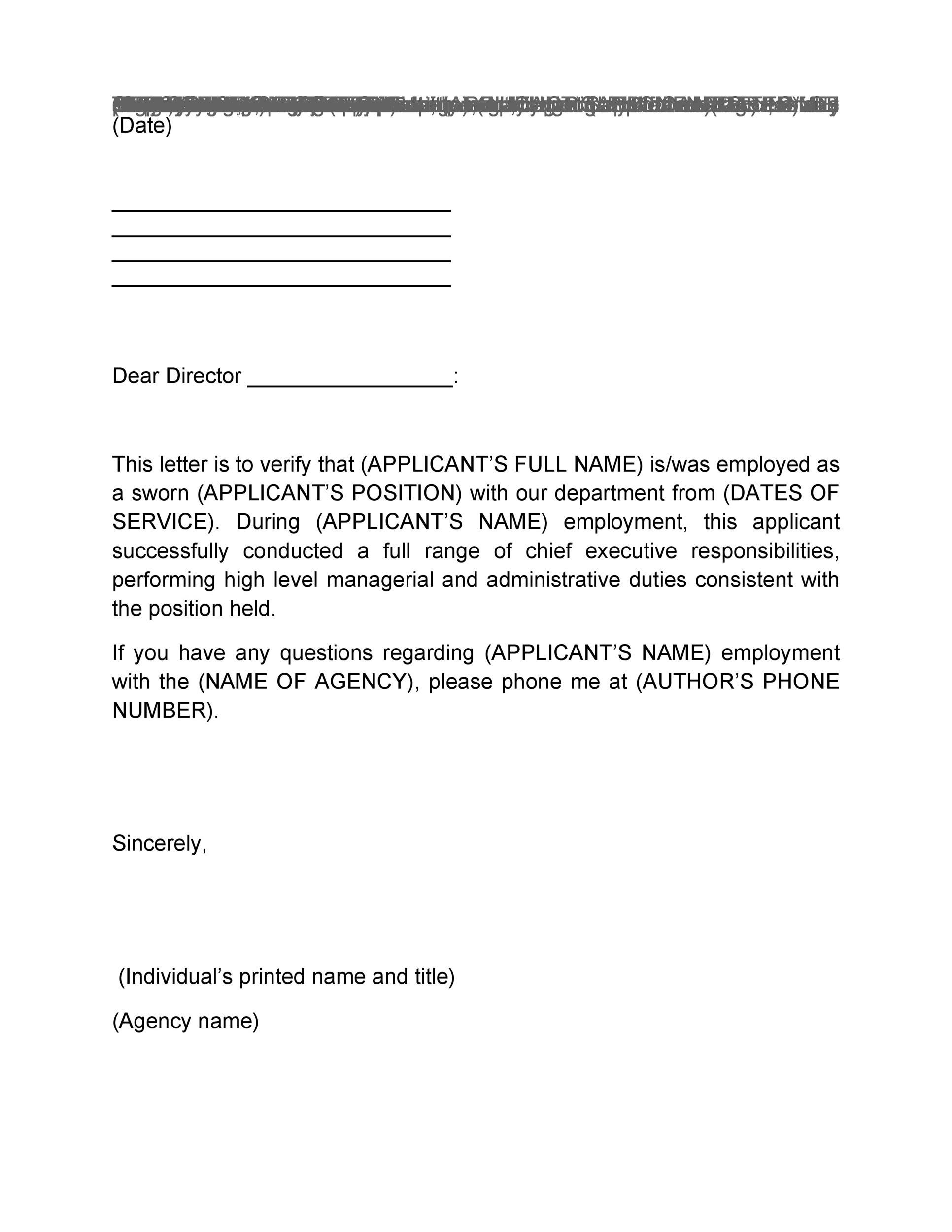 Printable Proof Of Employment Letter Template 01  Blank Employment Verification Form