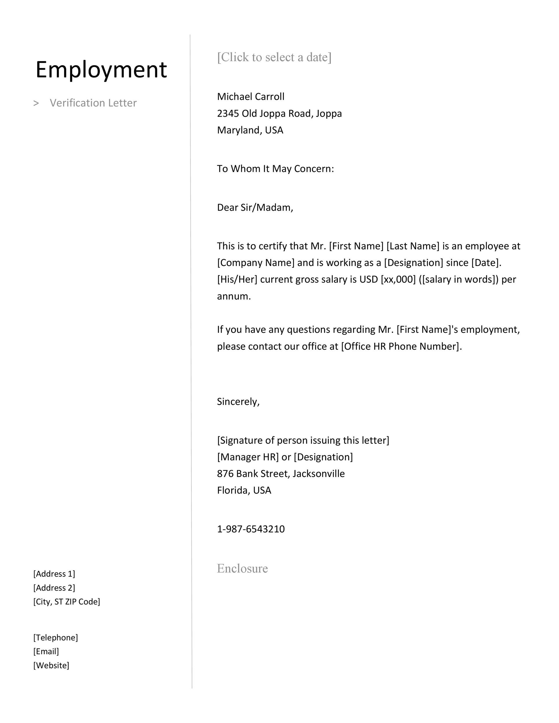 Printable Proof Of Employment Letter Template 02