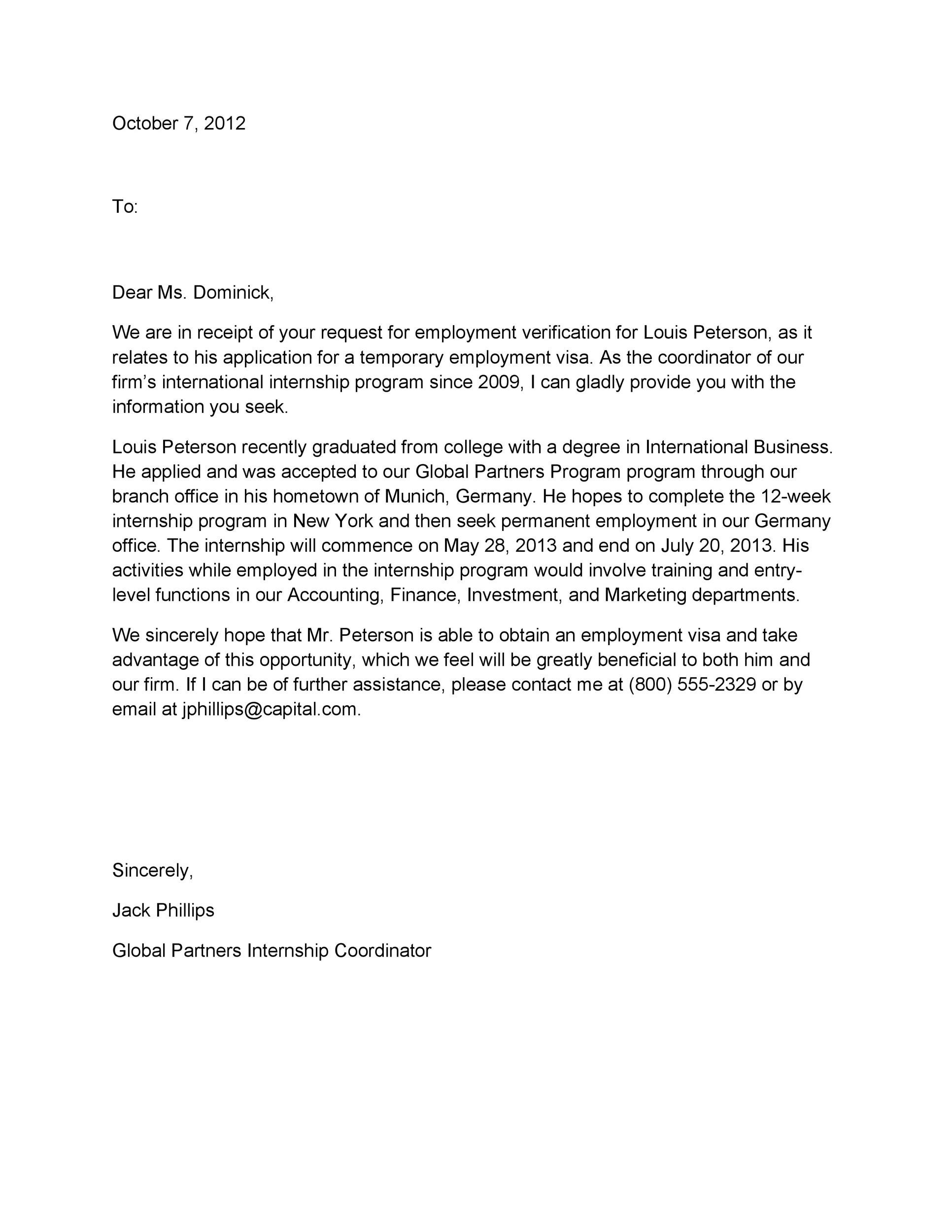 Free Proof of Employment Letter Template 04