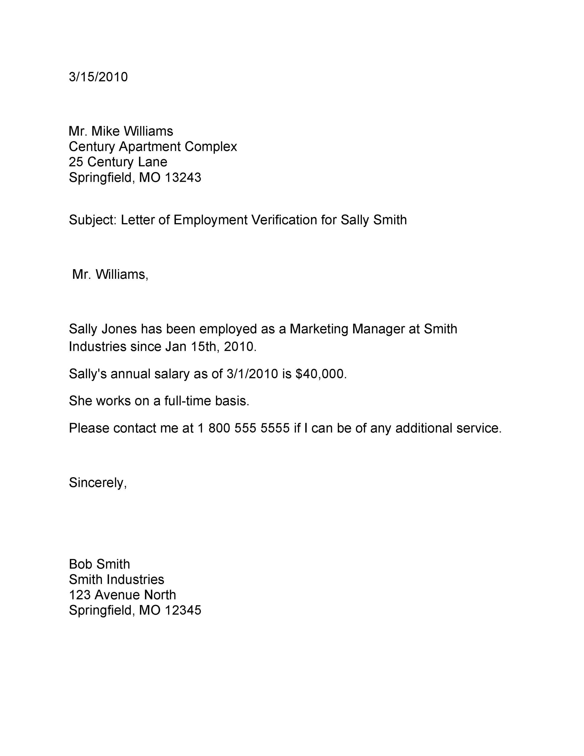 Free Proof of Employment Letter Template 05