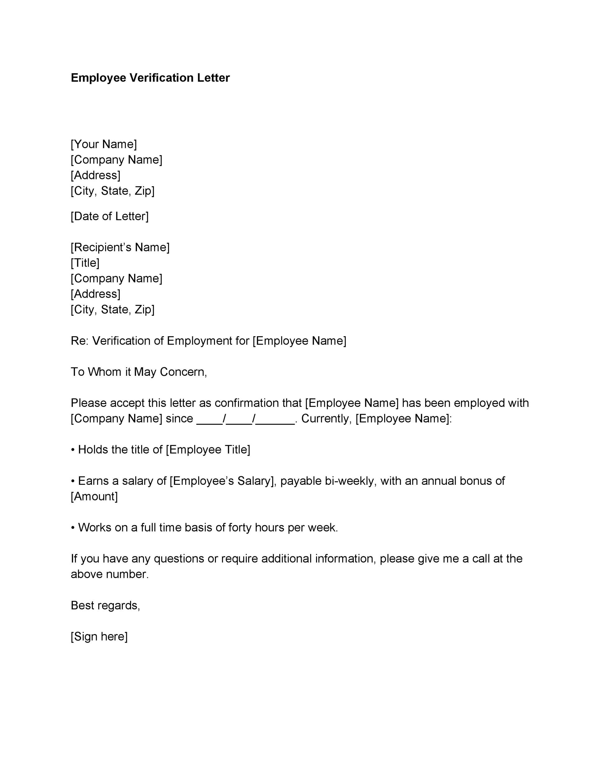 Attractive Printable Proof Of Employment Letter Template 06 For Examples Of Employment Verification Letters