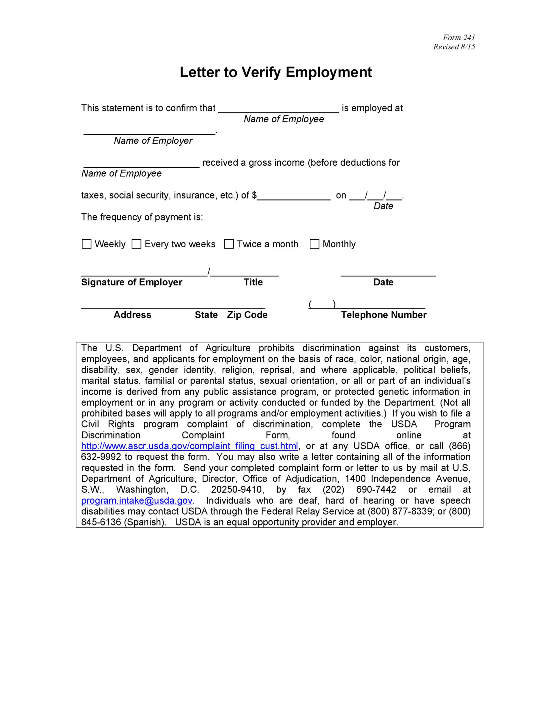 Printable Proof Of Employment Letter Template 07  Prior Employment Verification Form