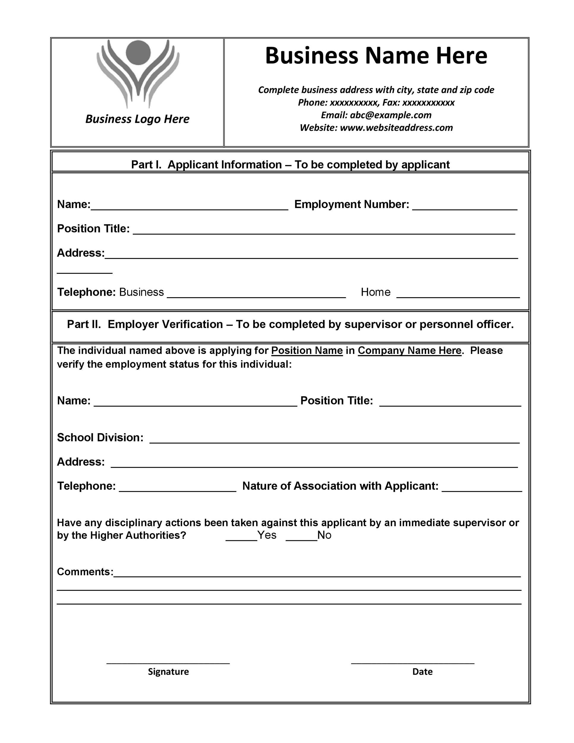 Printable Proof Of Employment Letter Template 08  Past Employment Verification Form