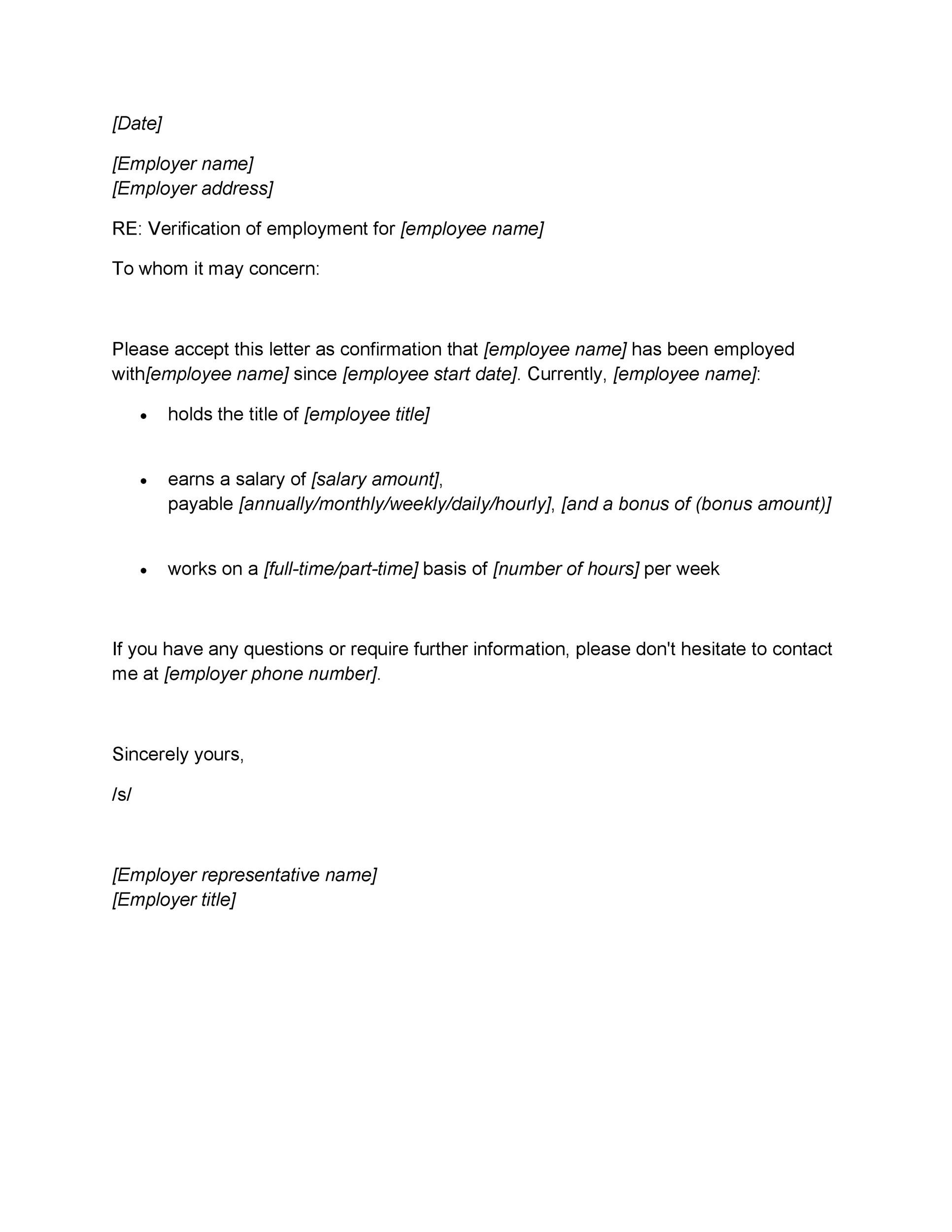 Printable Proof Of Employment Letter Template 11  Examples Of Employment Verification Letters