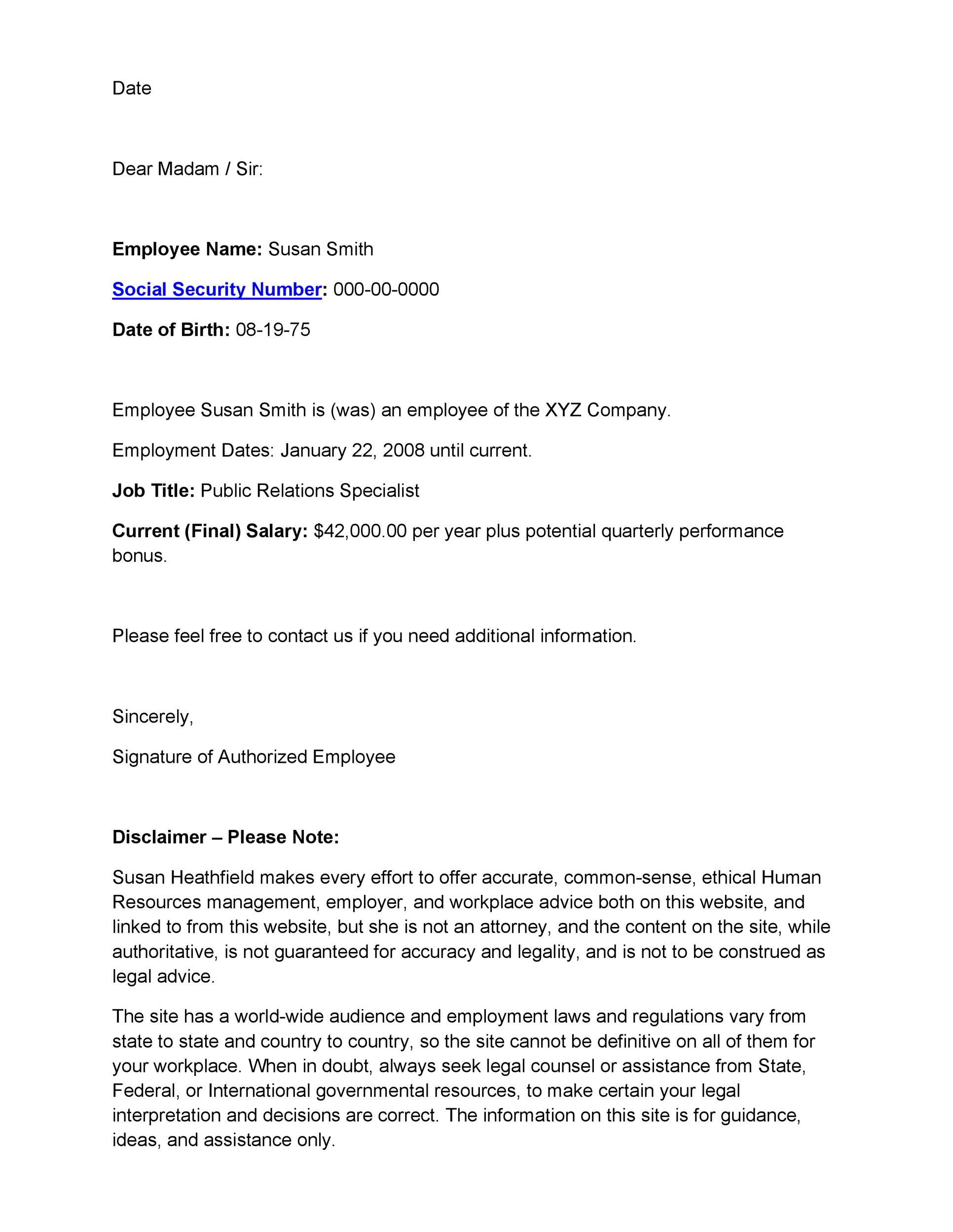 employment verification letter template 01. sample employment and ...