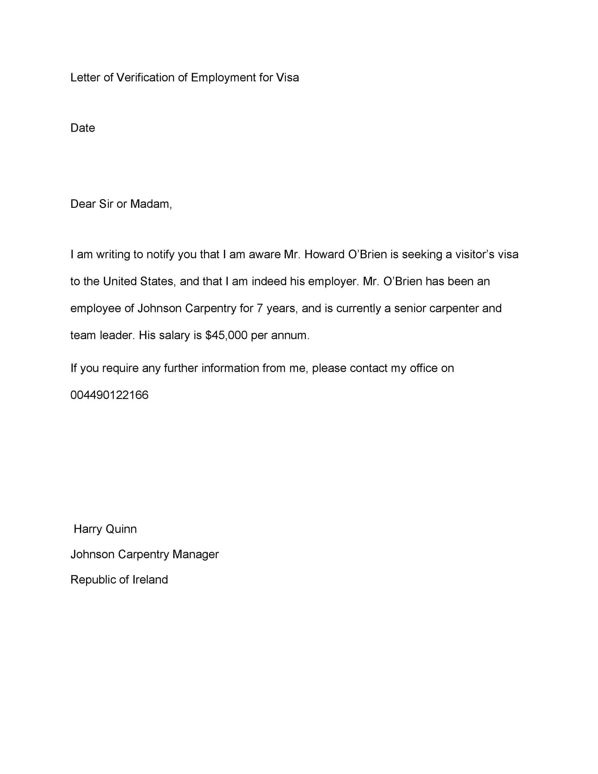 printable proof of employment letter template 13