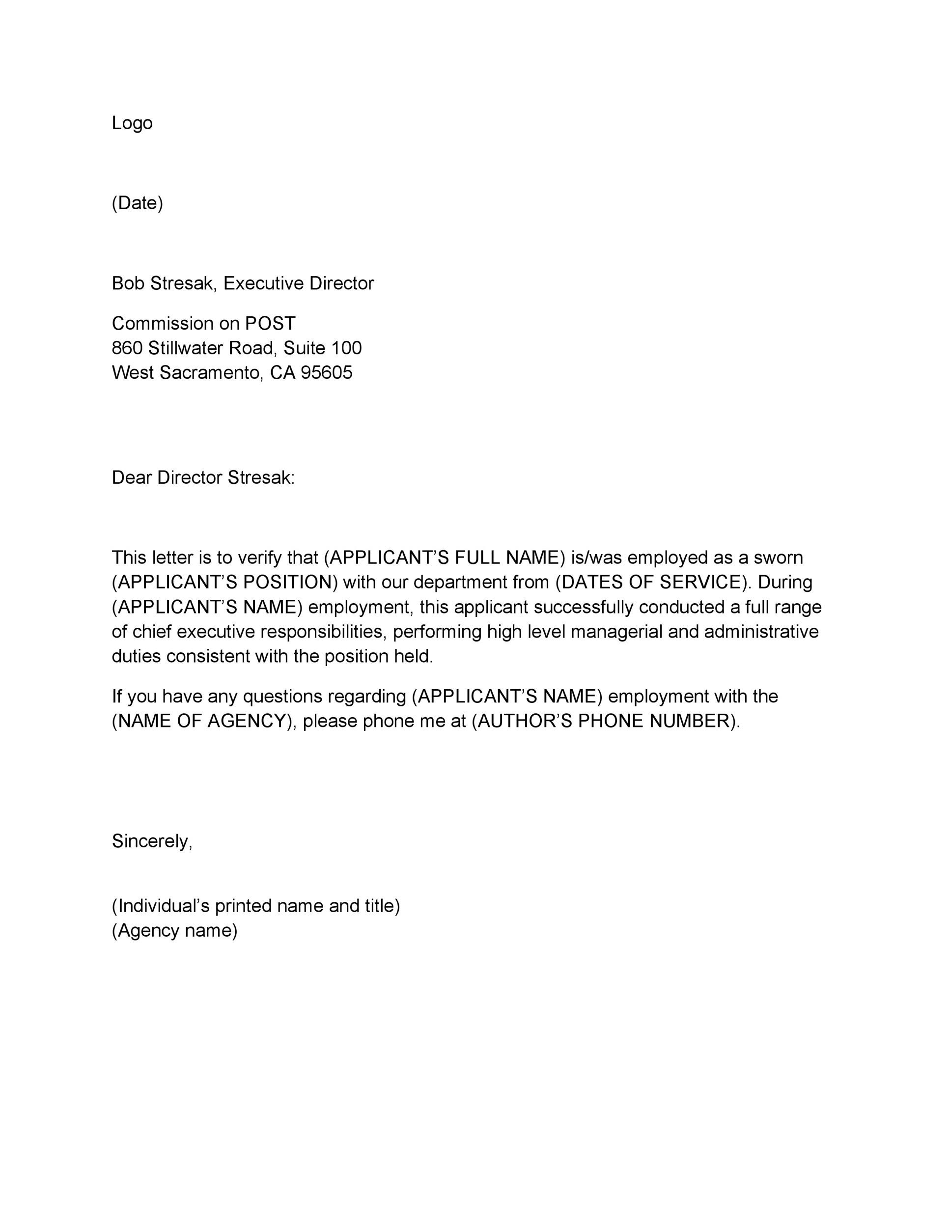 Free Proof of Employment Letter Template 14