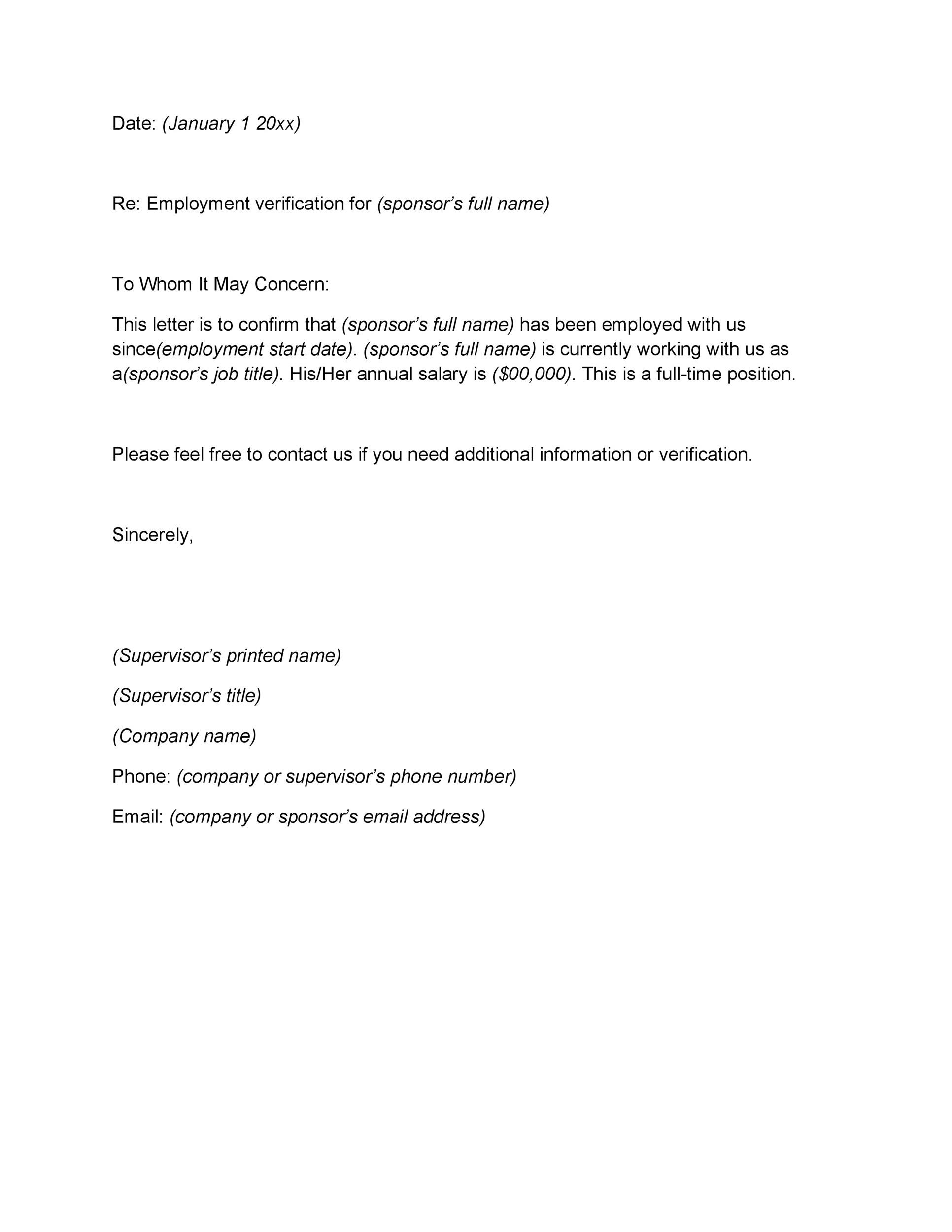Printable Proof Of Employment Letter Template 15