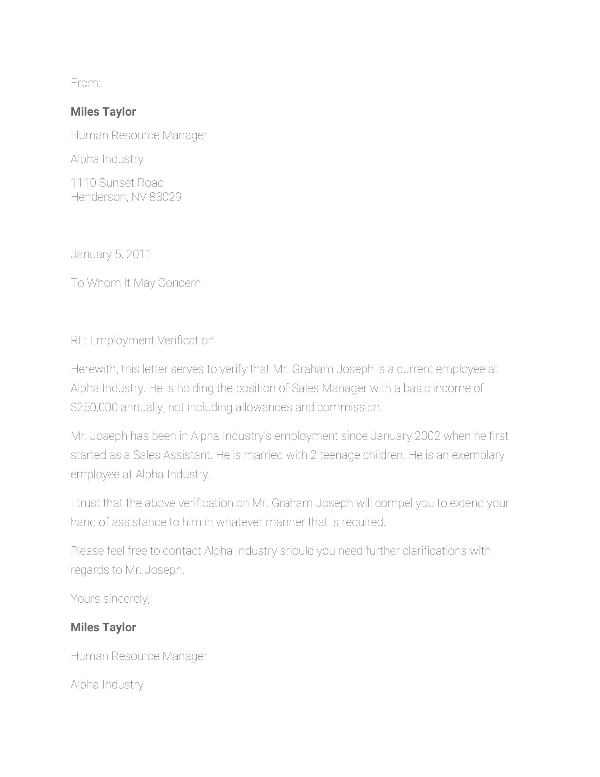 free proof of employment letter template 17