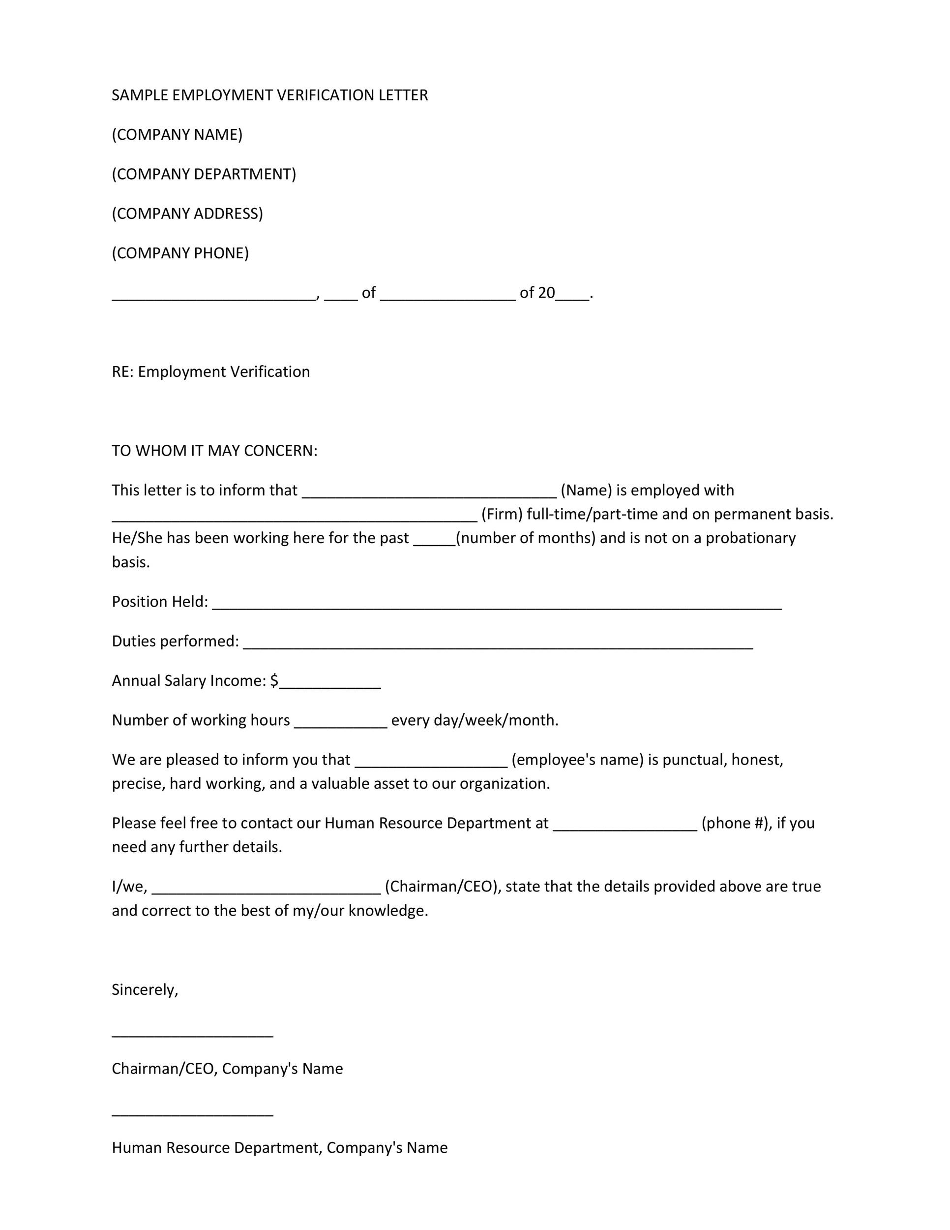 Printable Proof Of Employment Letter Template 20