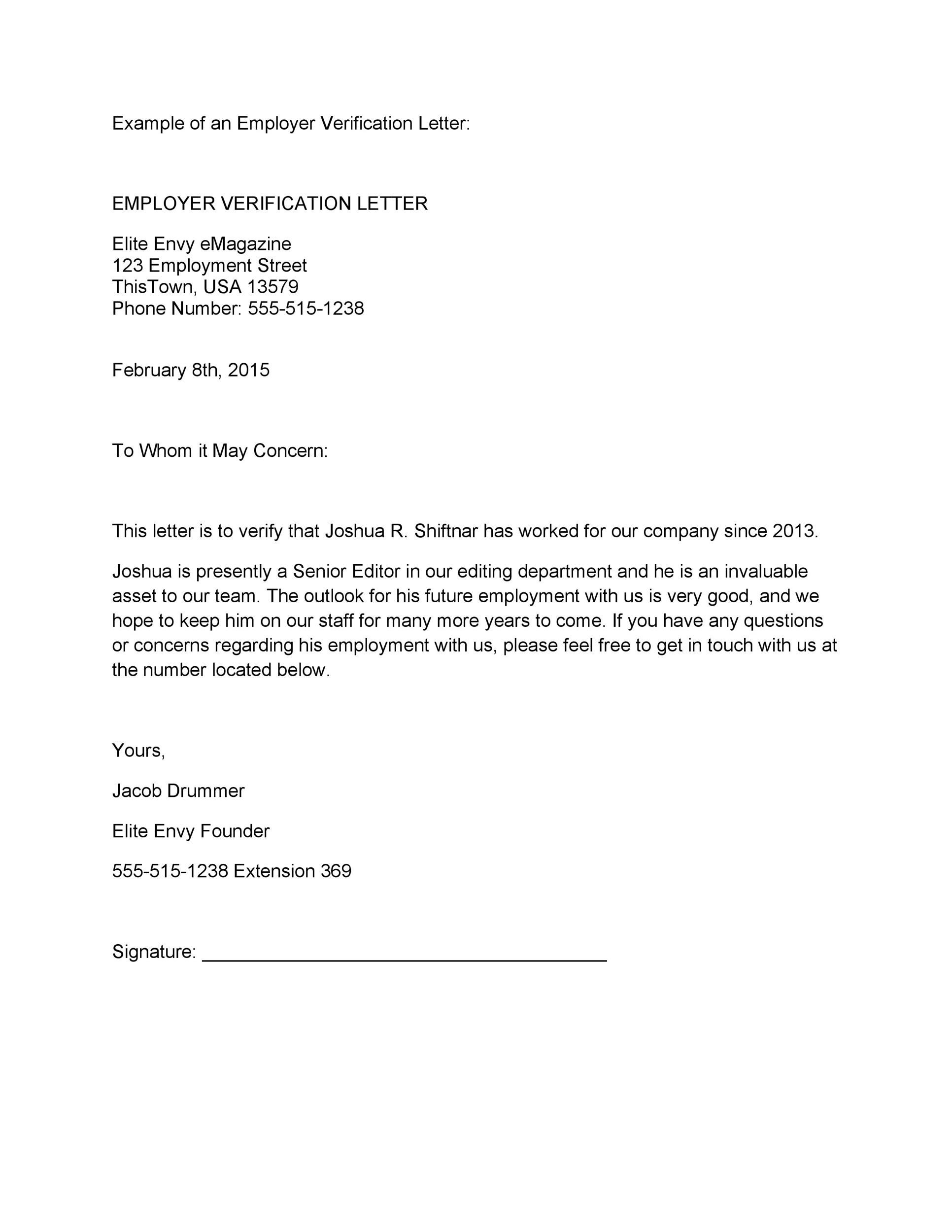 High Quality Printable Proof Of Employment Letter Template 21 Intended For Previous Employment Verification Letter