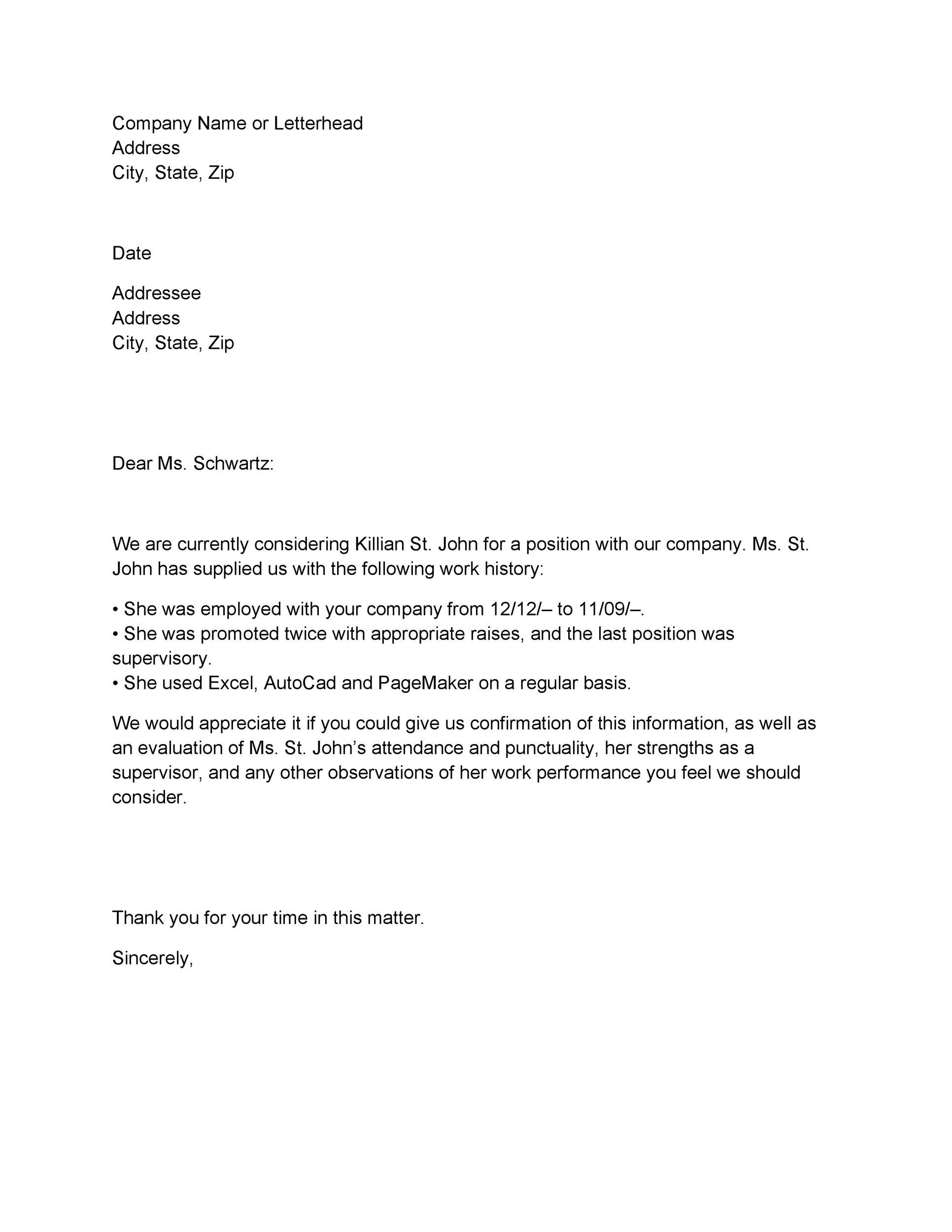 verification of employment letter template