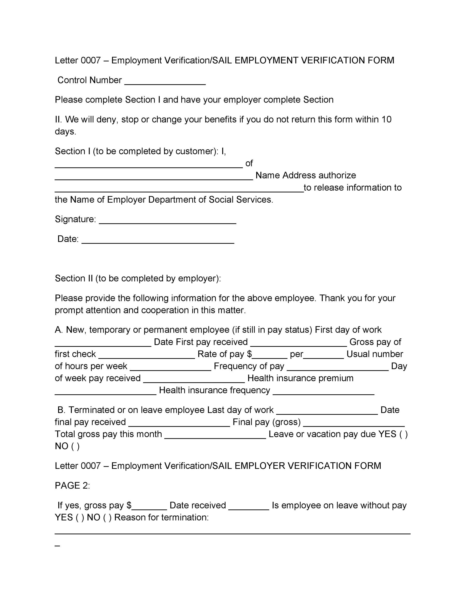 Printable Proof Of Employment Letter Template 24  Past Employment Verification Form