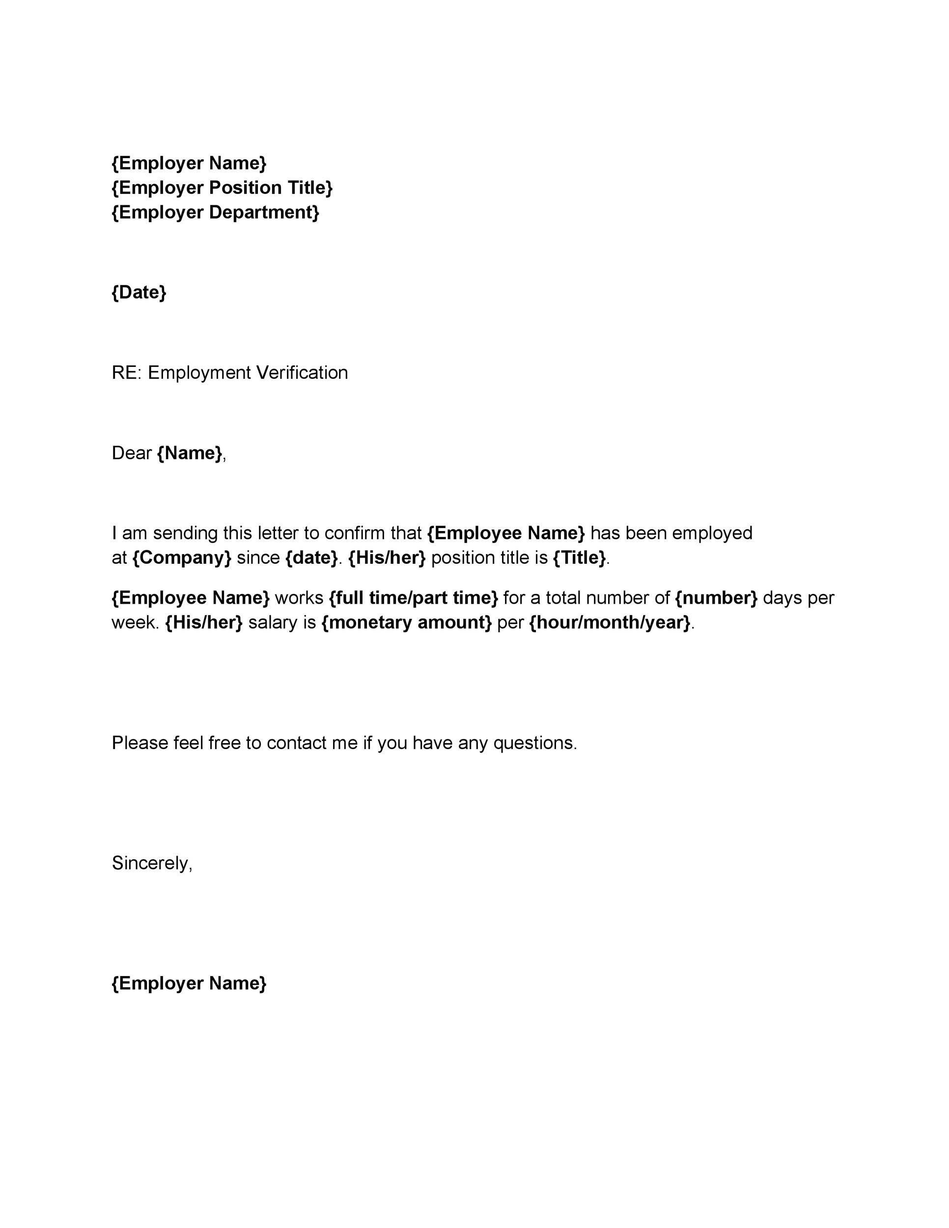 Free Proof of Employment Letter Template 25