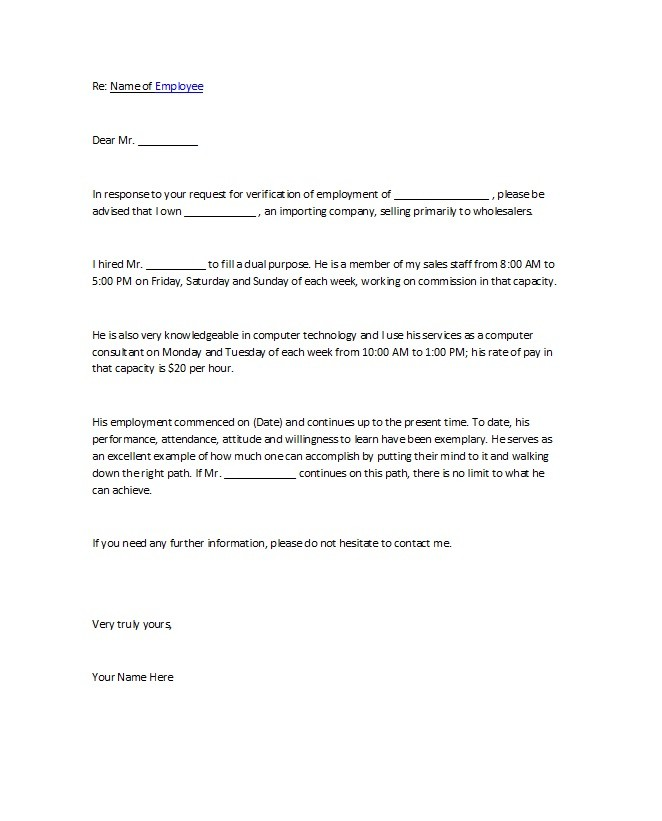 Free Proof of Employment Letter Template 27