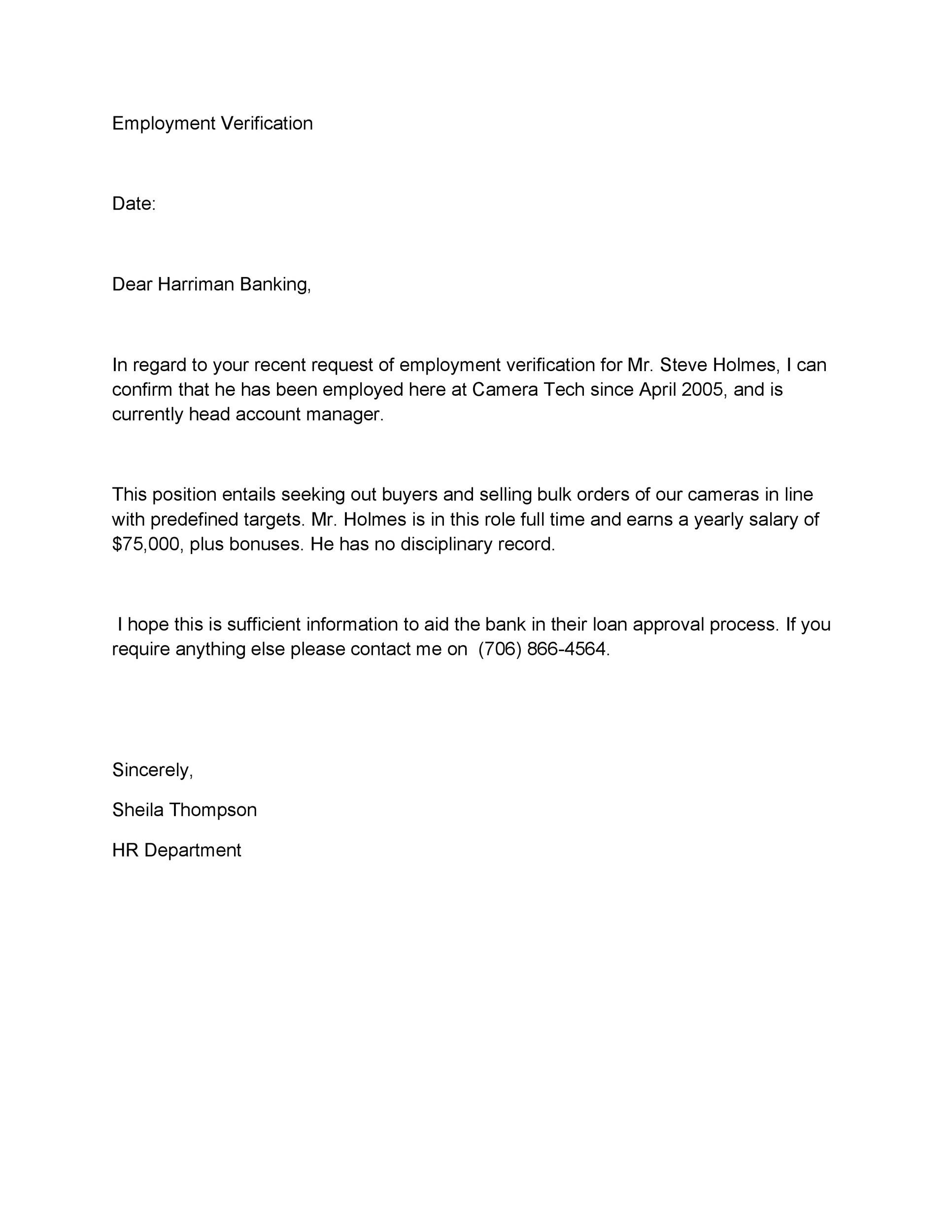 Employment Letter Example  BesikEightyCo