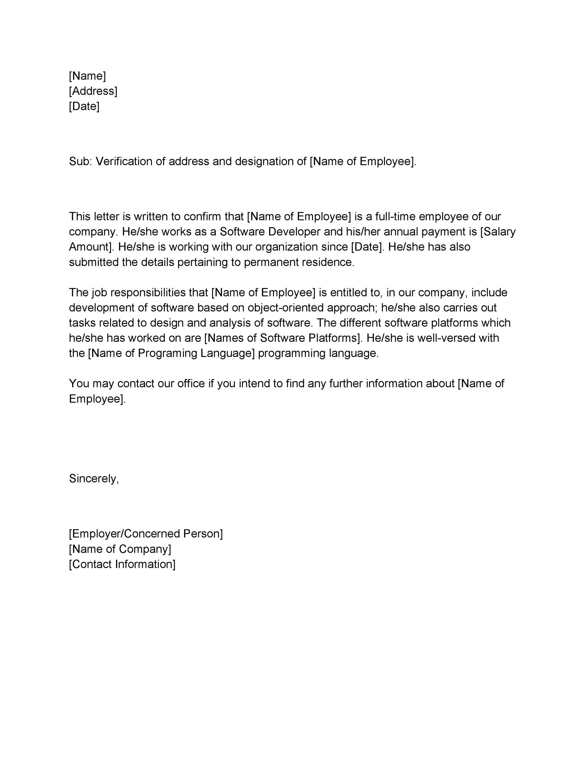 Free Proof of Employment Letter Template 29
