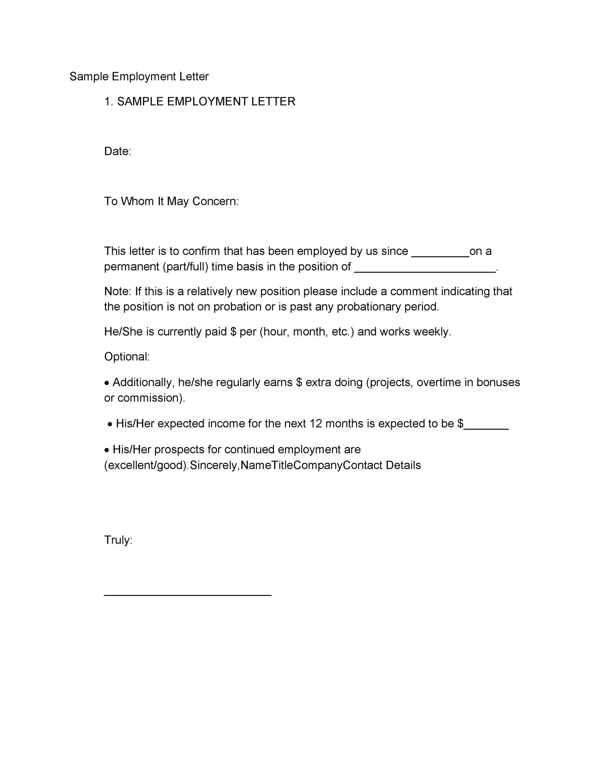 printable proof of employment letter template 30