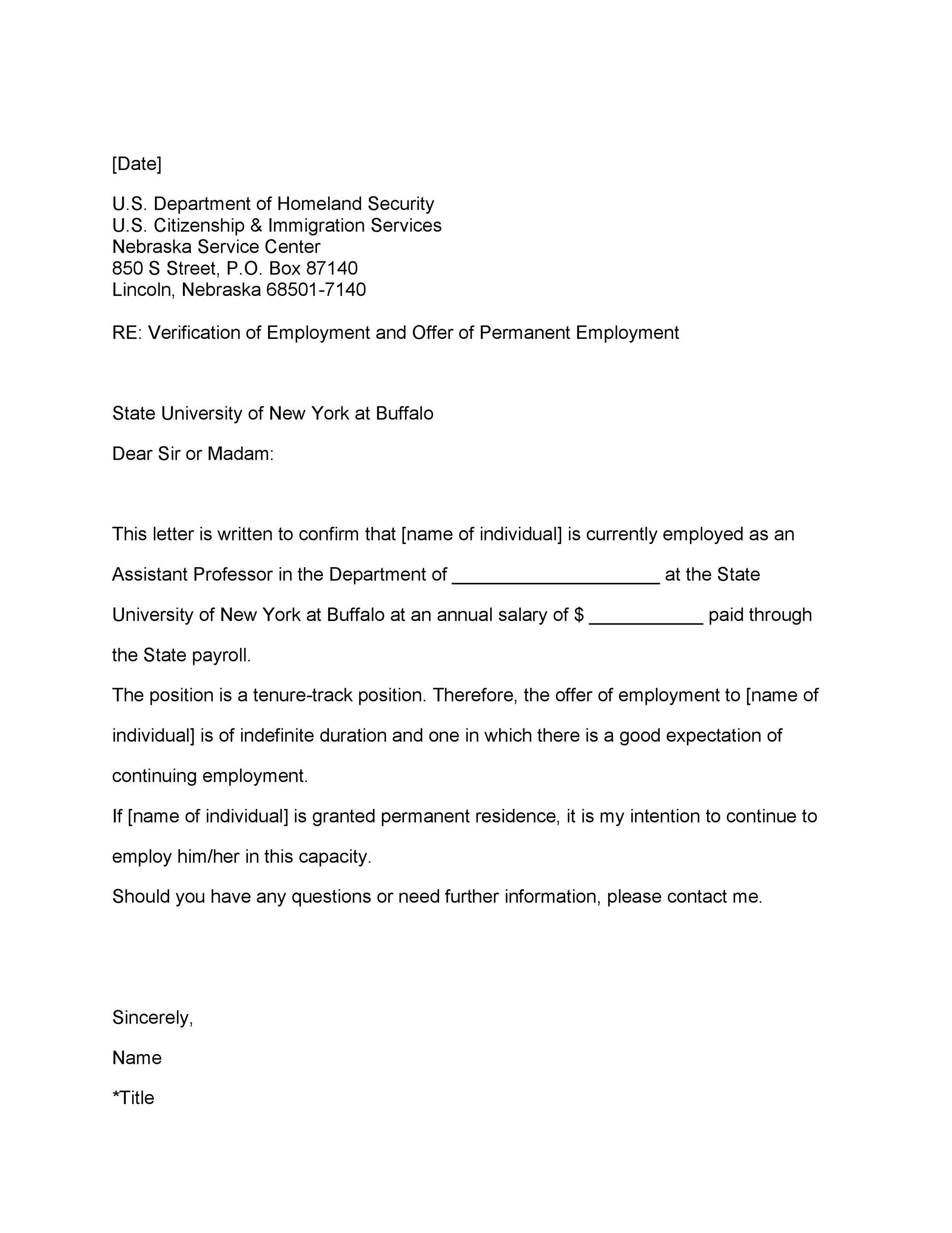Printable Proof Of Employment Letter Template 31  Past Employment Verification Form