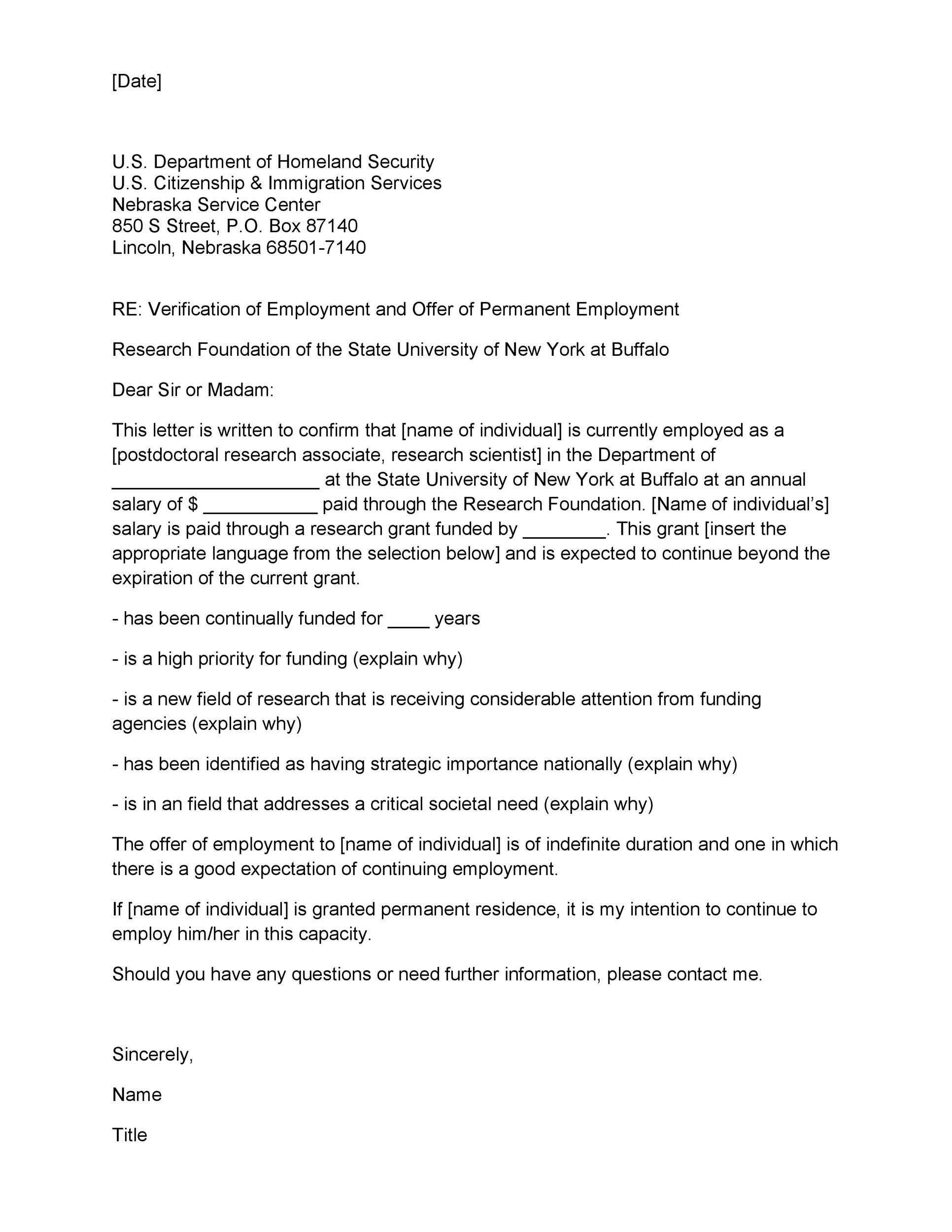 Free Proof of Employment Letter Template 32