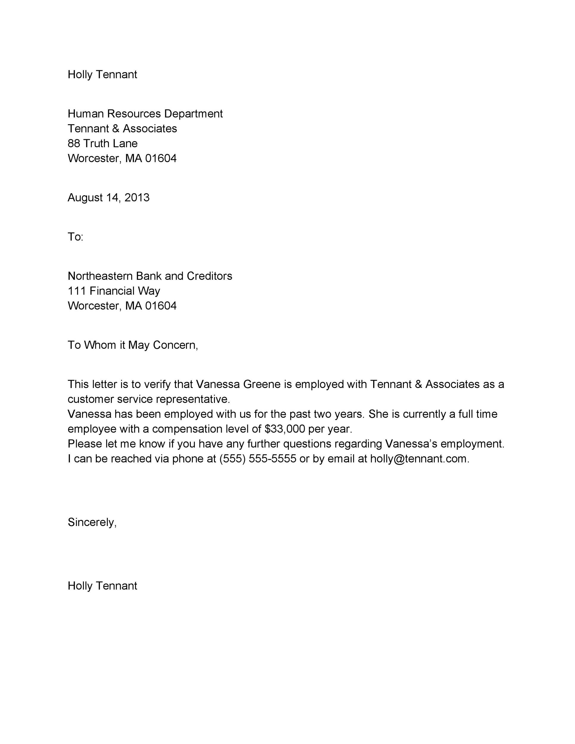 Free Proof of Employment Letter Template 33