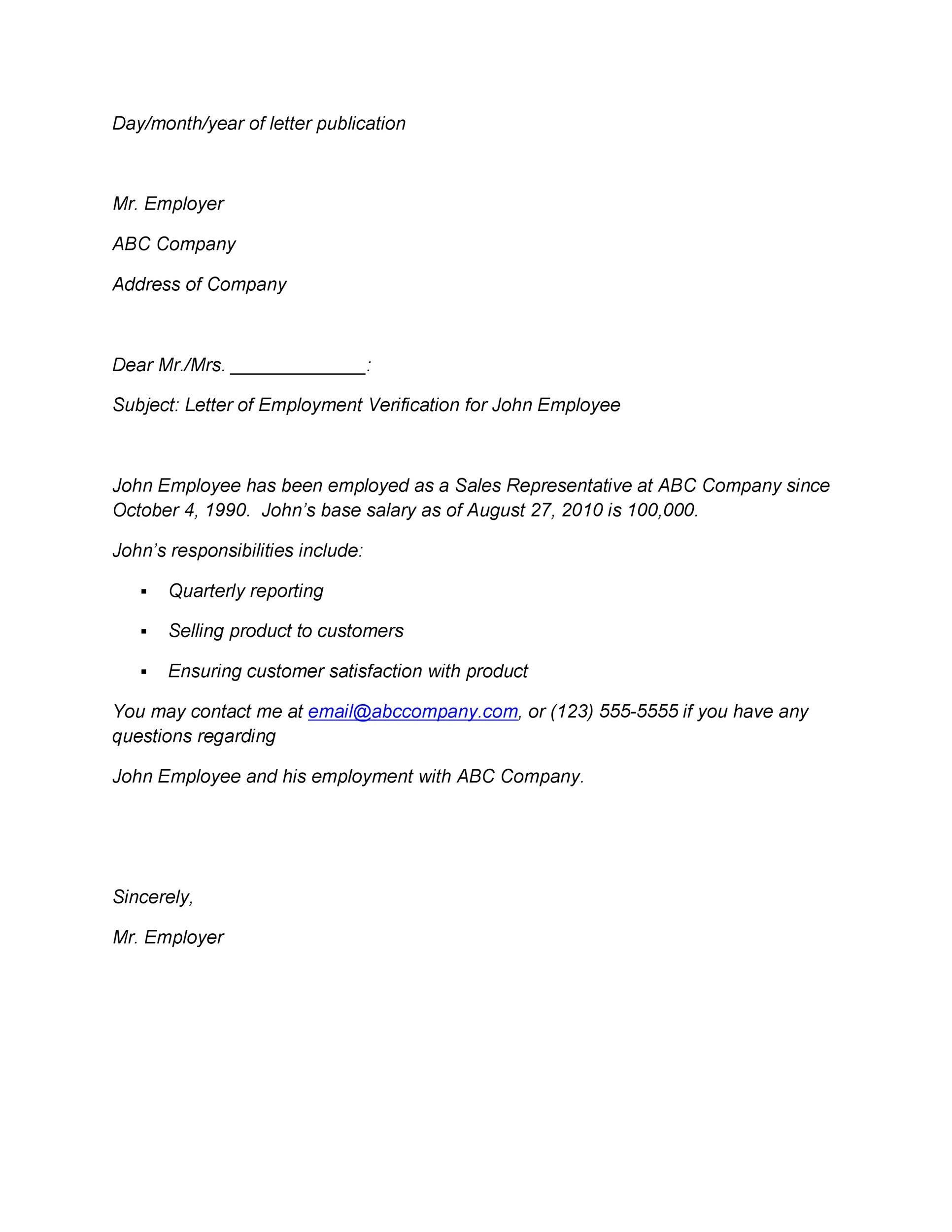 Free Proof of Employment Letter Template 34