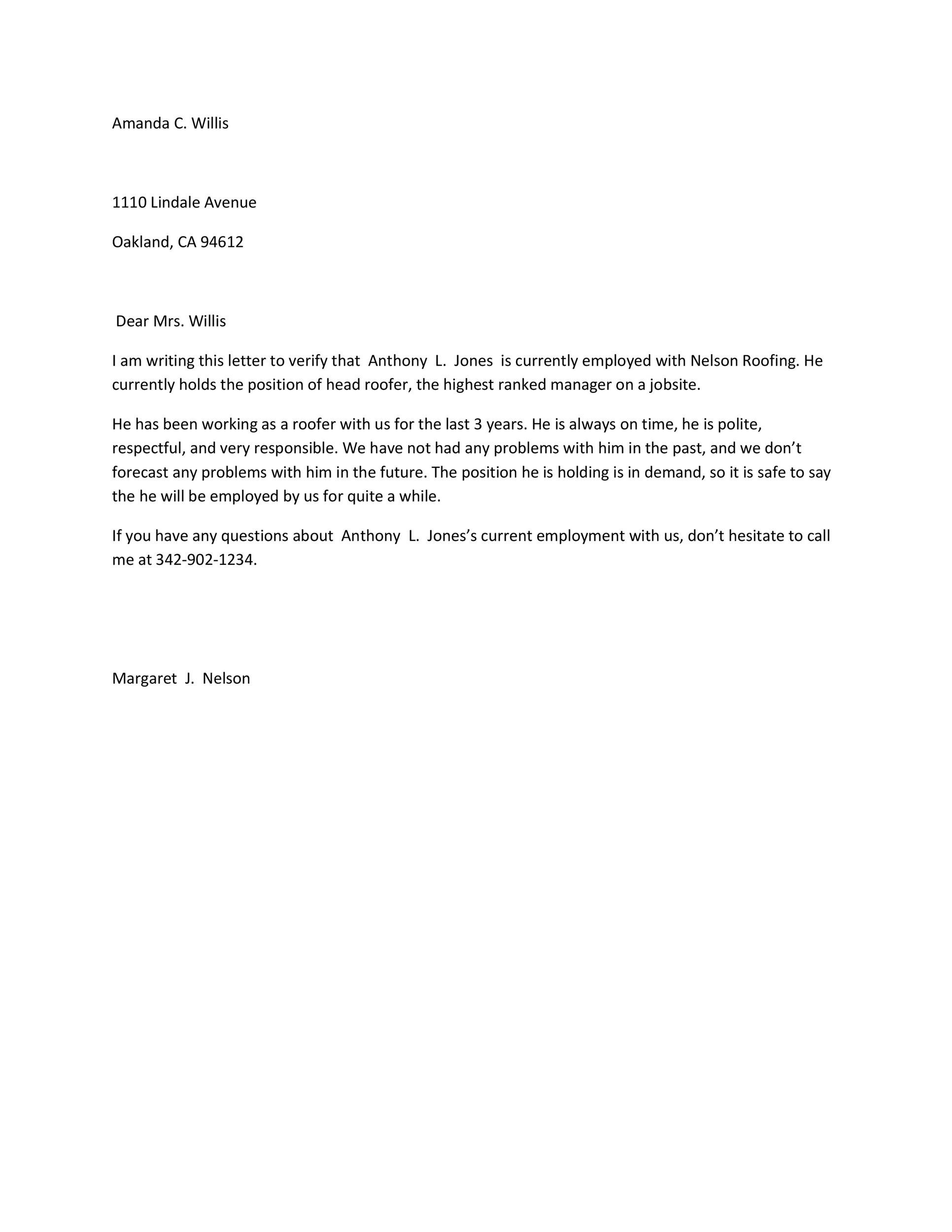 free proof of employment letter template 35