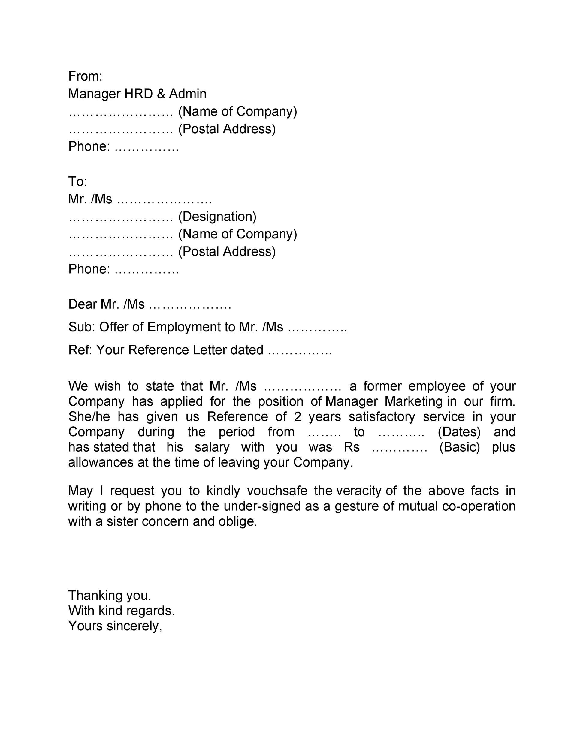 Printable Proof Of Employment Letter Template 36  Employment Letter Of Reference