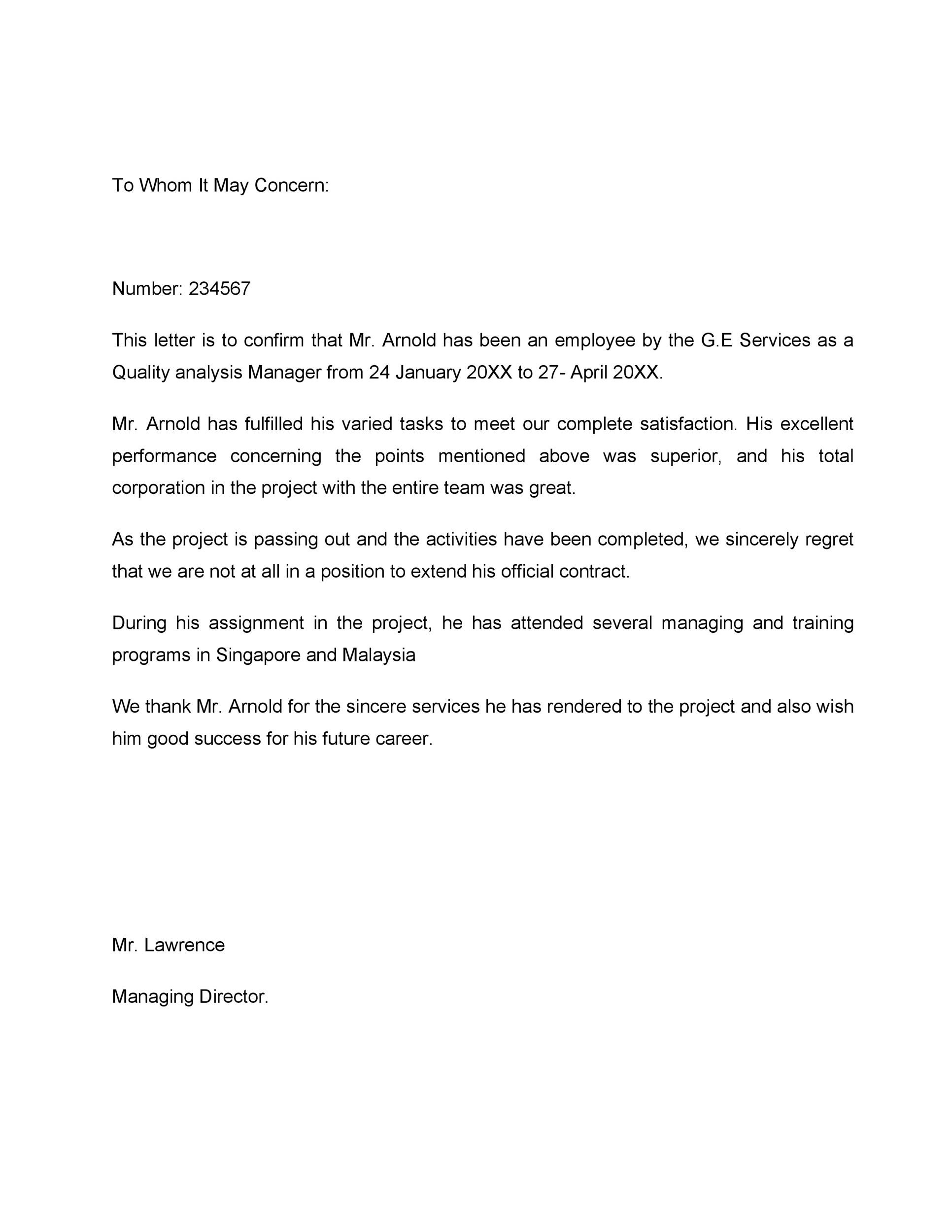 Free Proof of Employment Letter Template 37