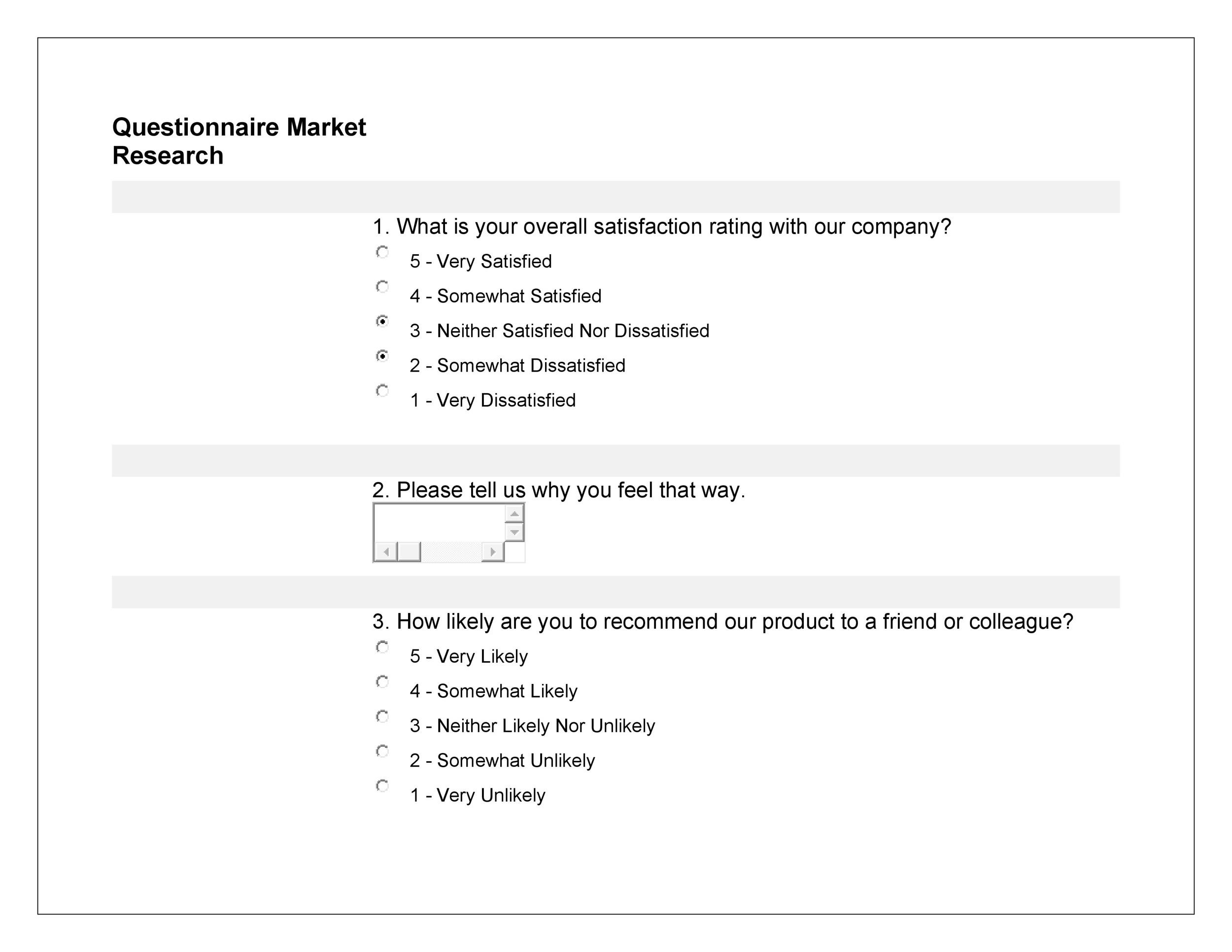 Free Survey Template. Questionnaire Sample On Customer