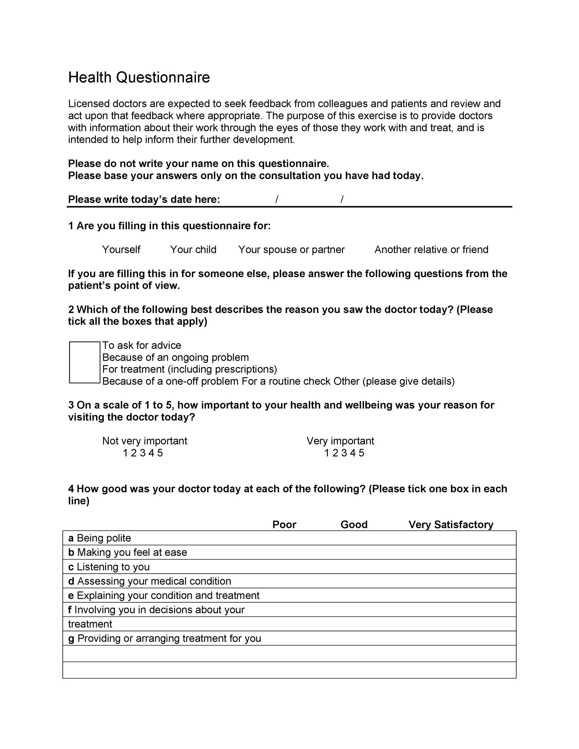 Printable Questionnaire Template 11  Printable Survey Template
