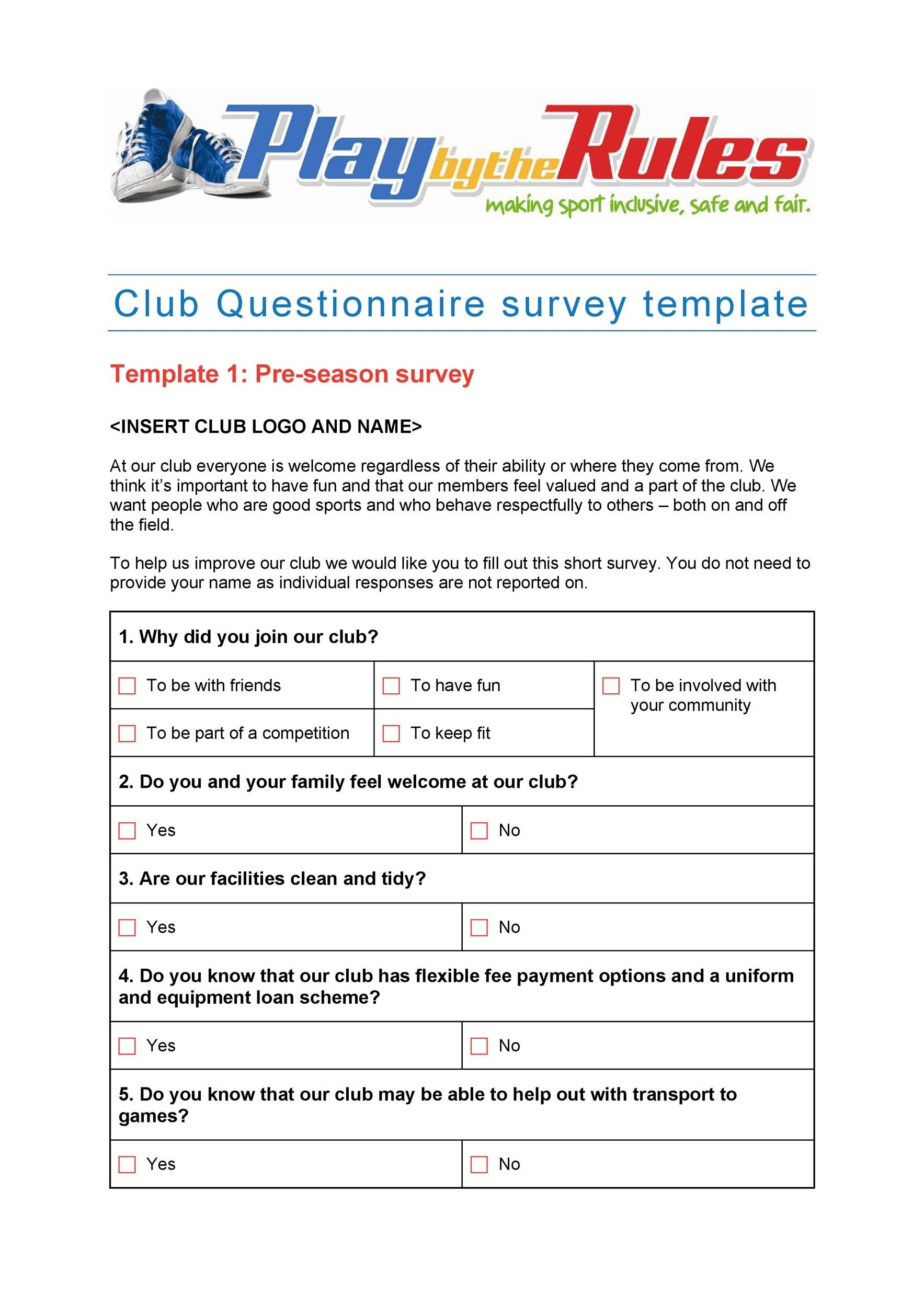 Printable Questionnaire Template 13  Printable Survey Template