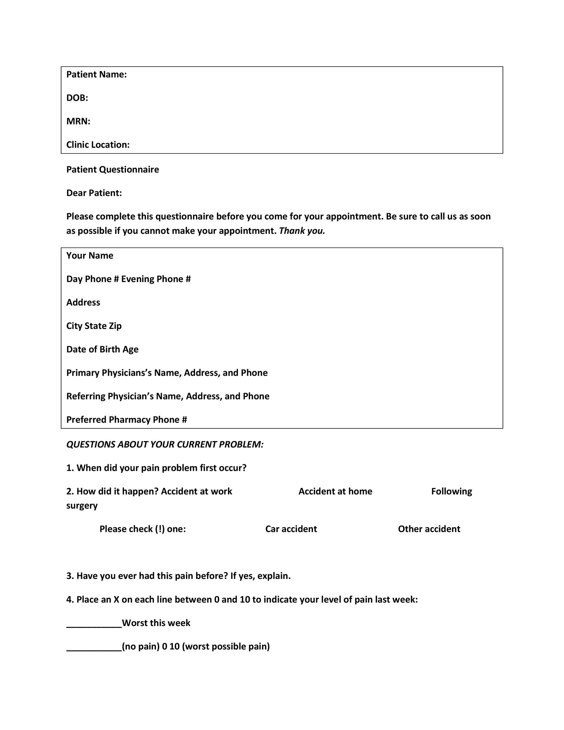 Free Questionnaire Template 18