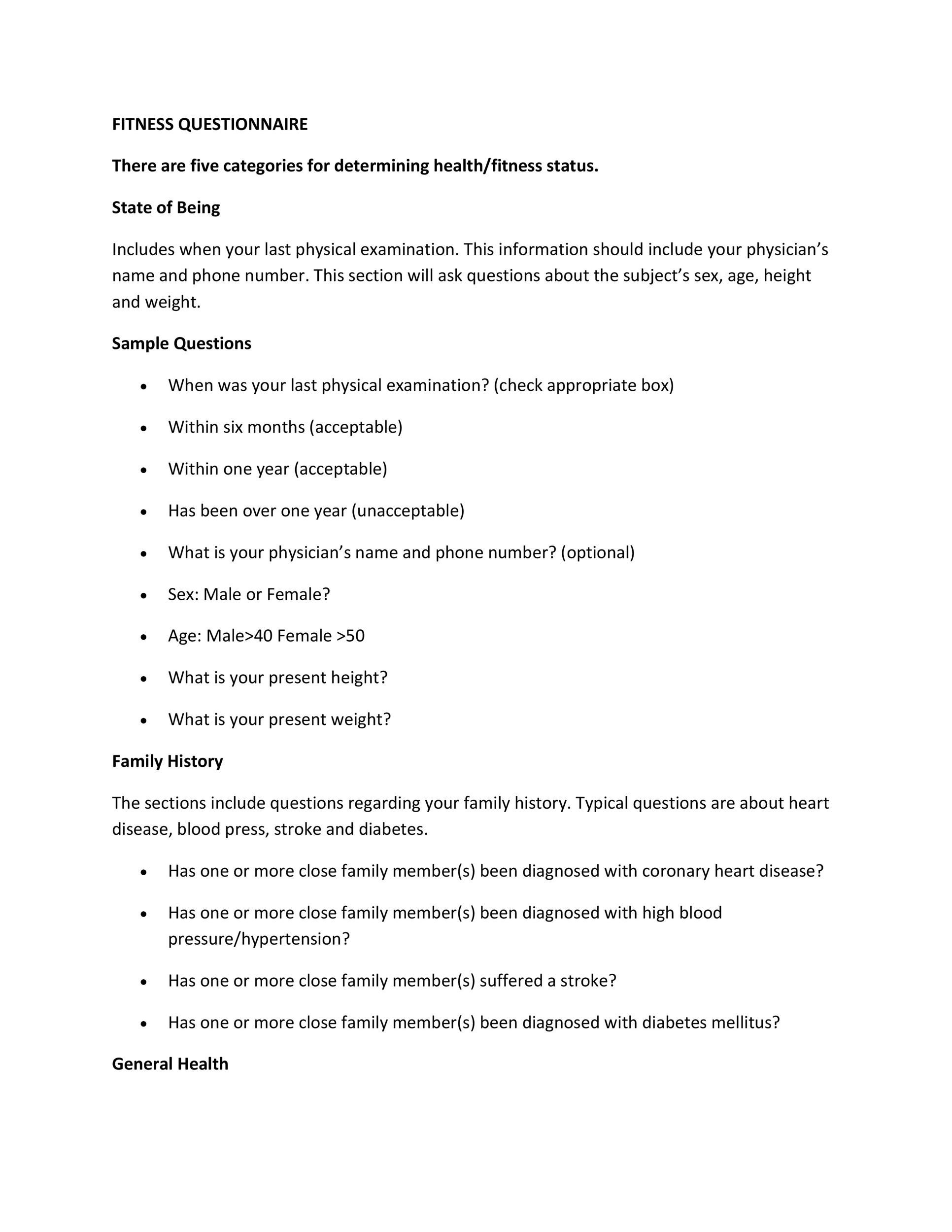 sample questionaire gym Practice 25 fitness instructor interview questions with professional interview answer examples with advice on how to answer each question with an additional 20 professionally written interview answer examples.