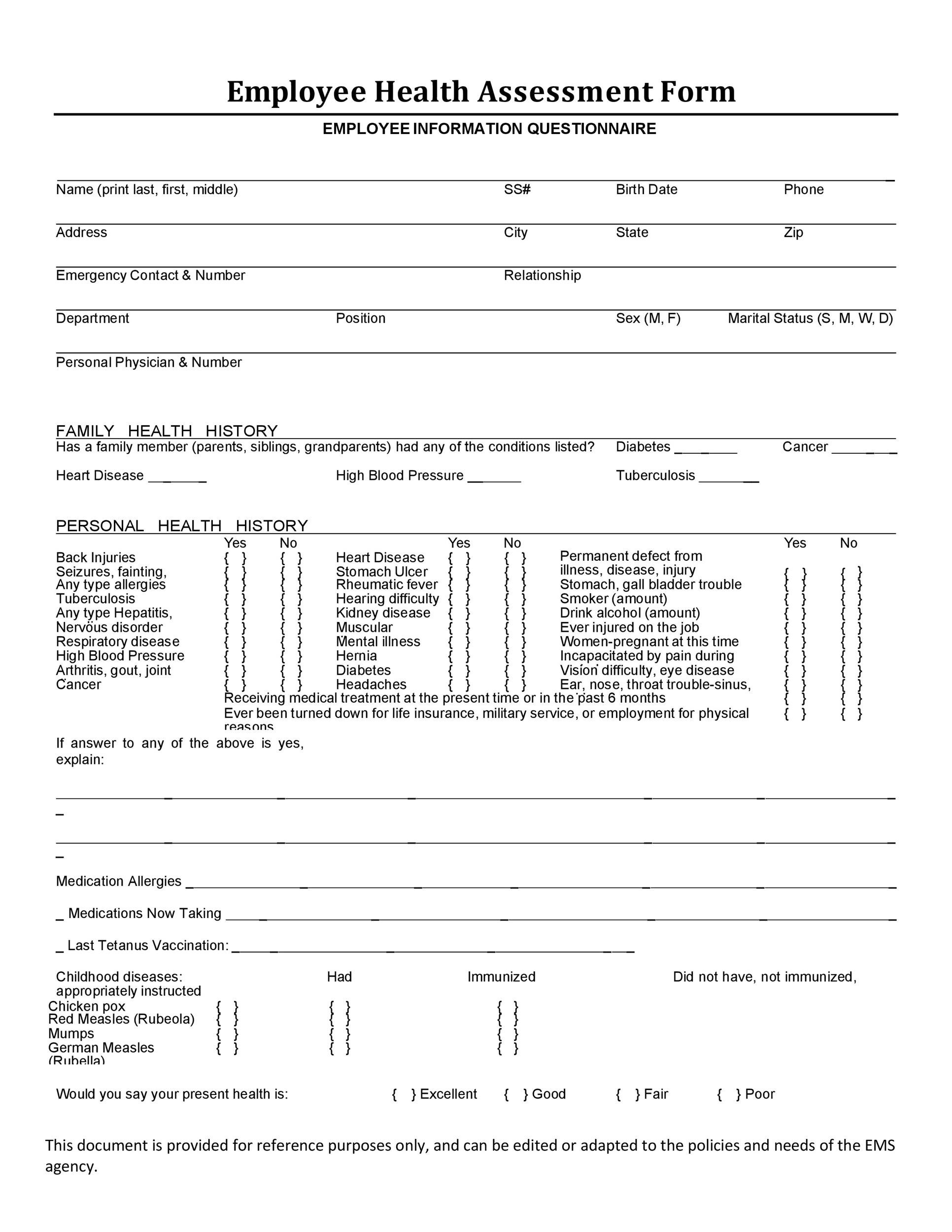 30 questionnaire templates word template lab for Health assessment questionnaire template