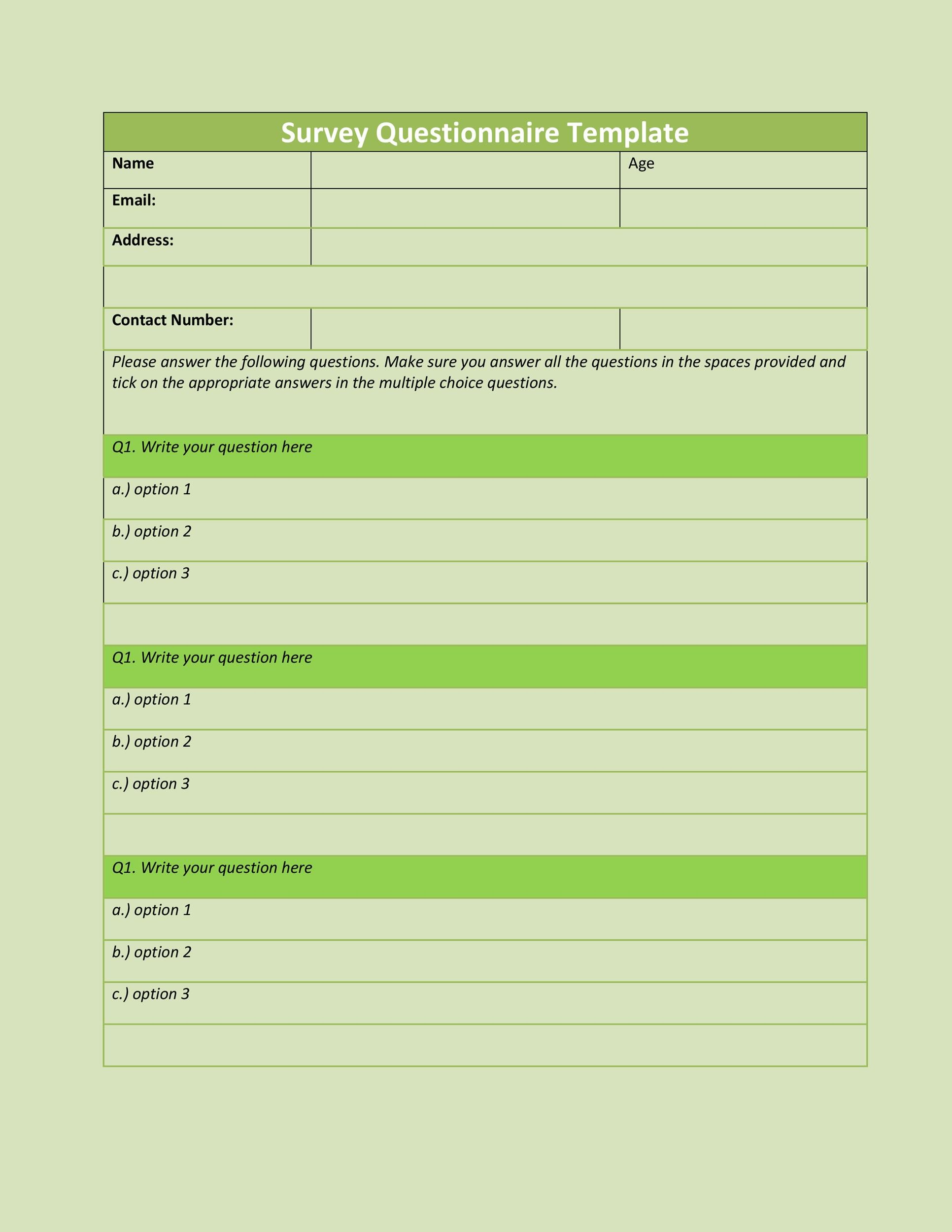Free Questionnaire Template 27