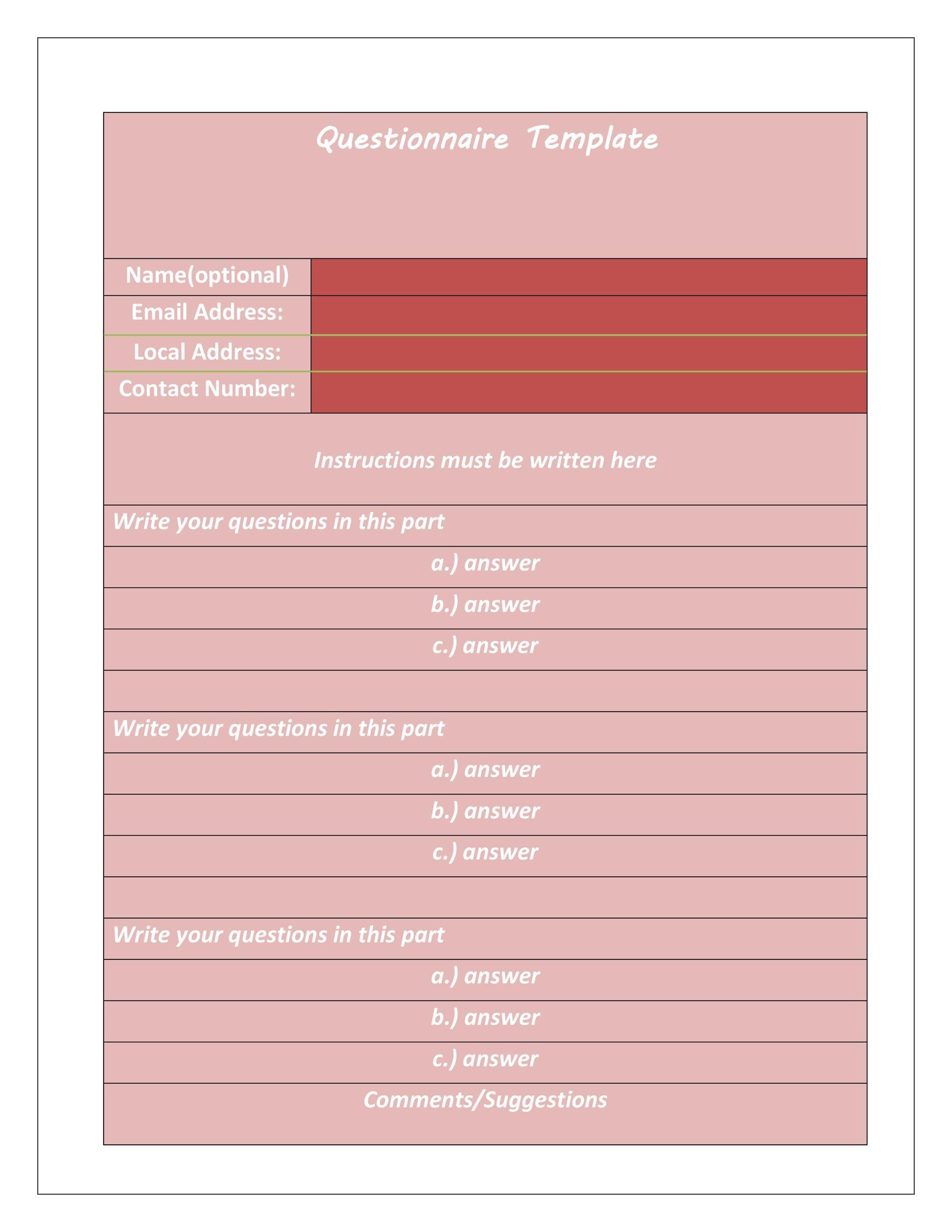 Questionnaire Template 28