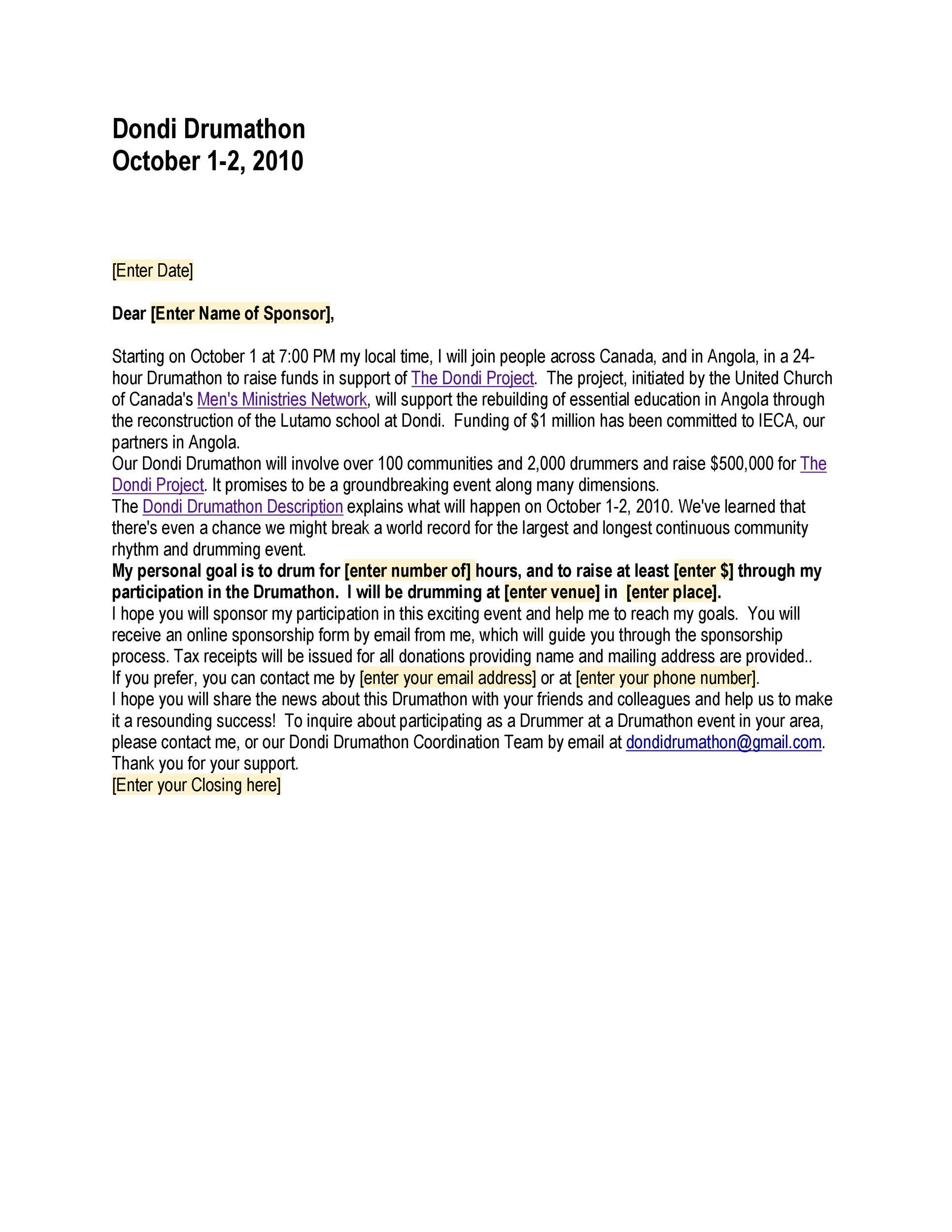 Free Sponsorship Letter Template 01