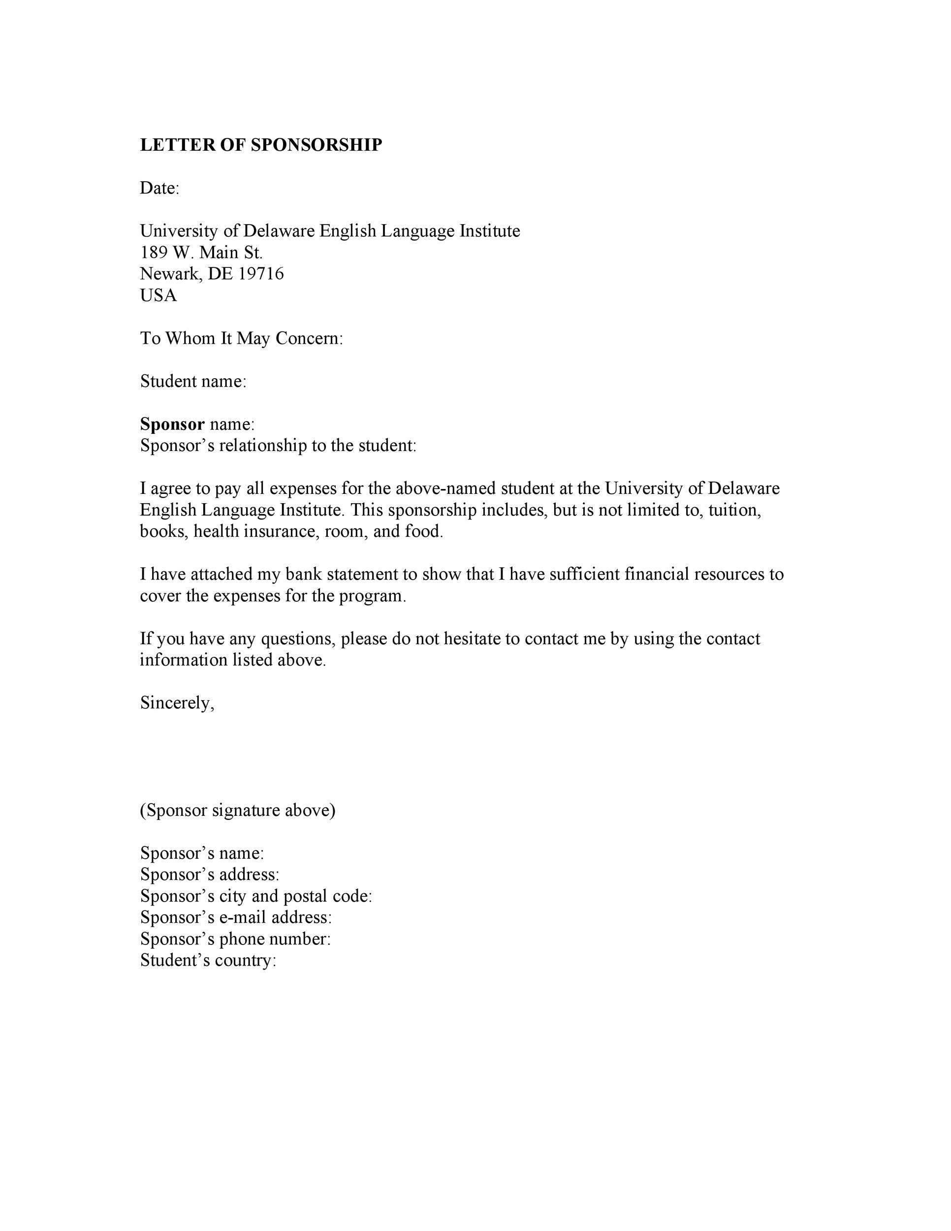 Printable Sponsorship Letter Template 03  Letter Of Intent For Sponsorship